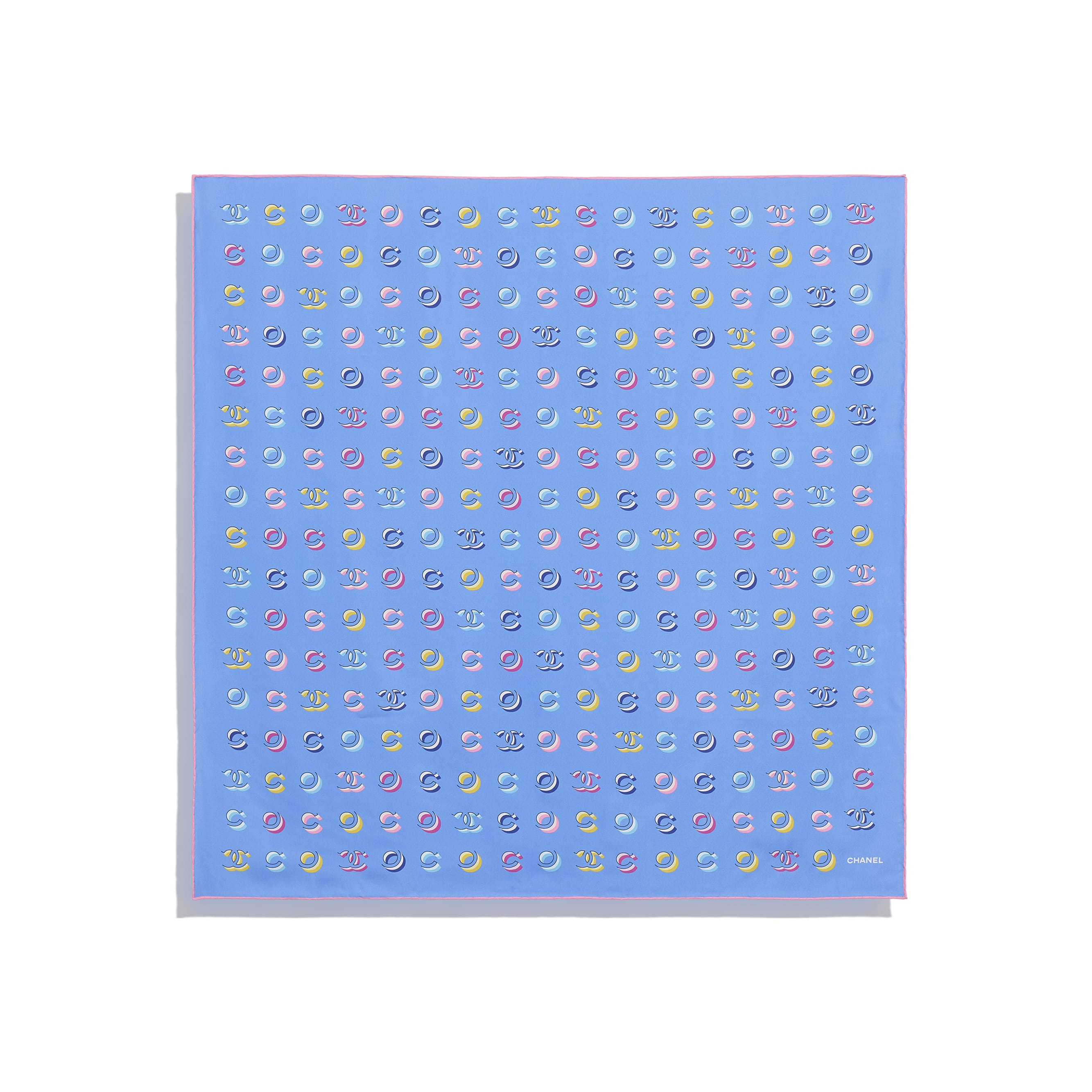 Foulard - Rosa pallido & blu - Twill di seta - CHANEL - Altra immagine - vedere versione standard