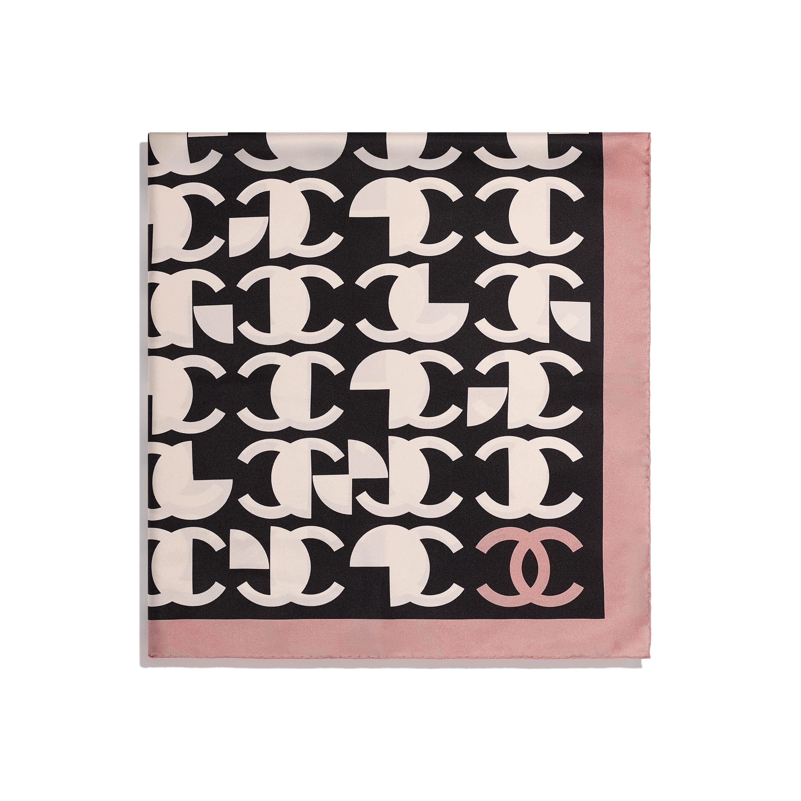 Square Scarf - Pink & Black - Silk Twill - CHANEL - Alternative view - see standard sized version