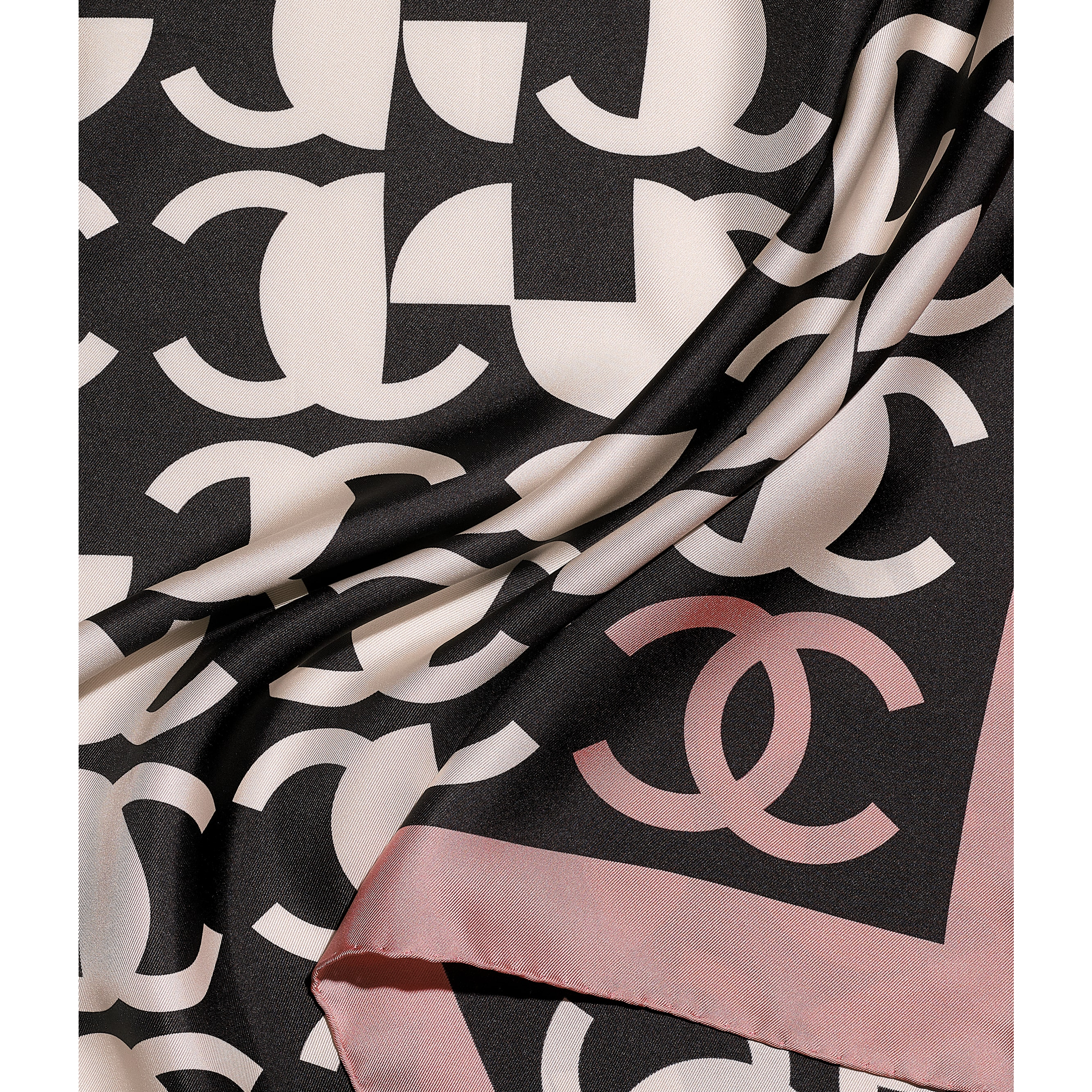 Square Scarf - Pink & Black - Silk Twill - CHANEL - Default view - see standard sized version