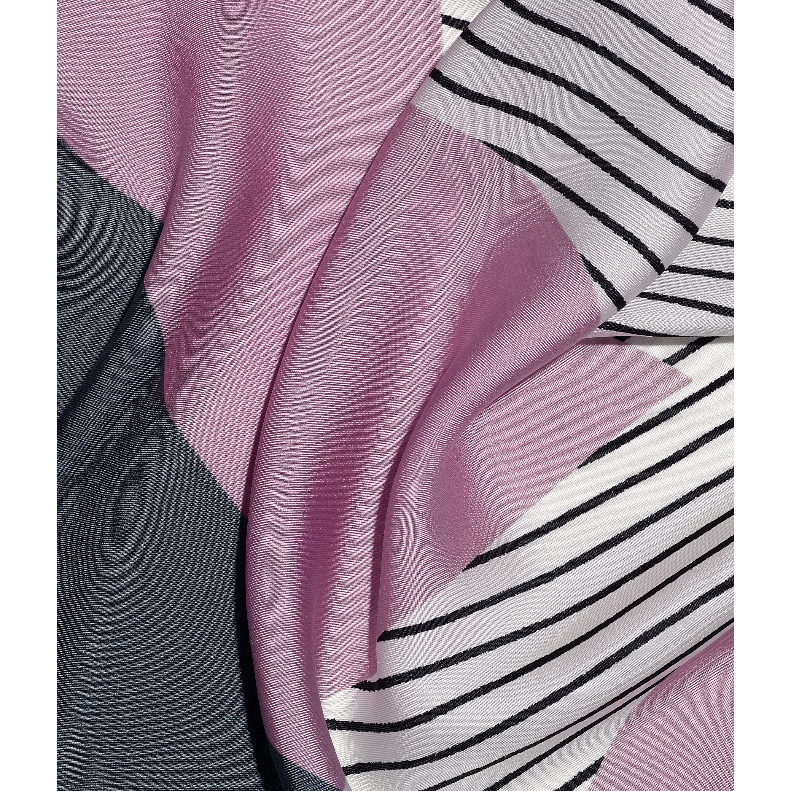 Square Scarf - Pink, Grey & Beige - Silk Twill - CHANEL - Default view - see standard sized version