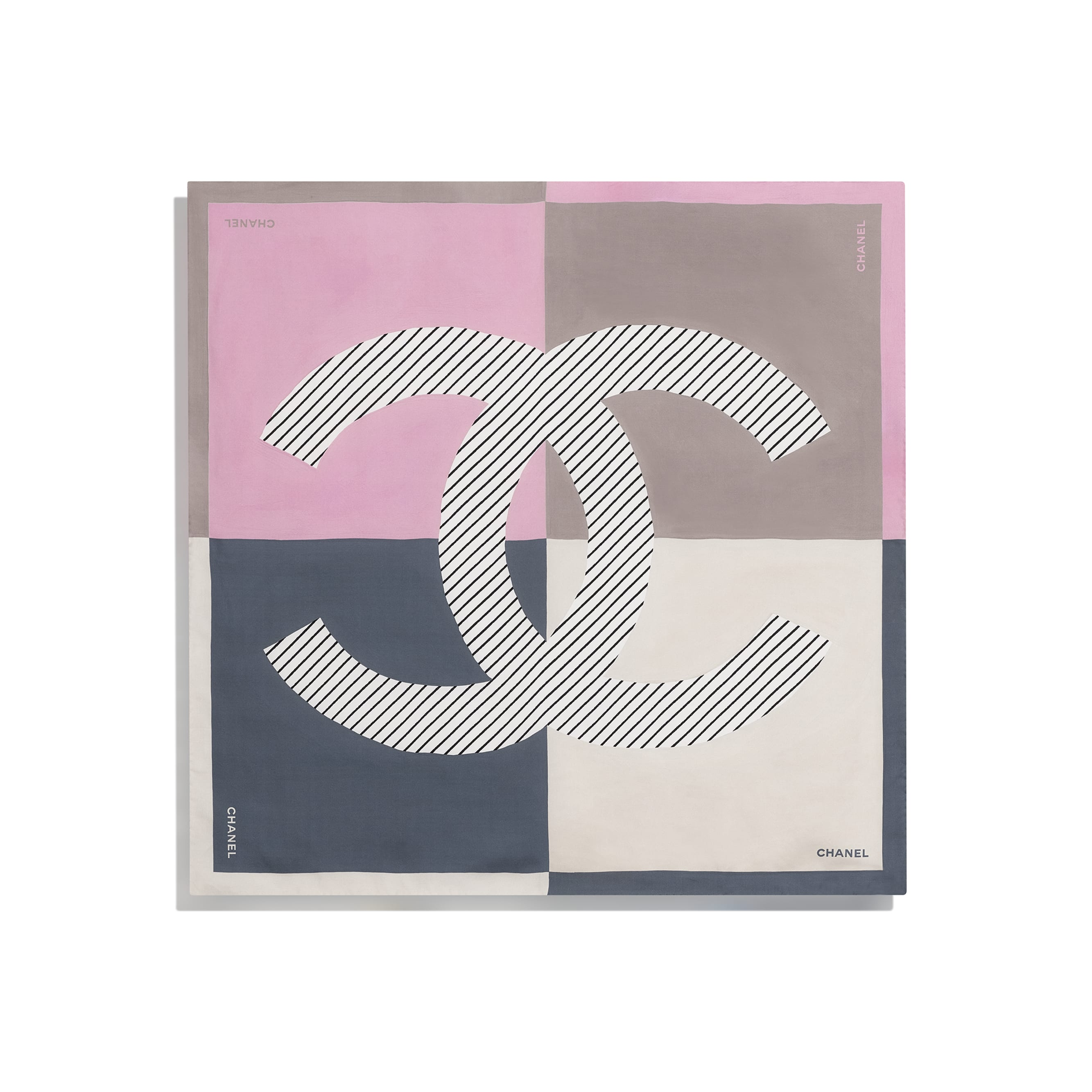 Square Scarf - Pink, Grey & Beige - Silk Twill - CHANEL - Other view - see standard sized version