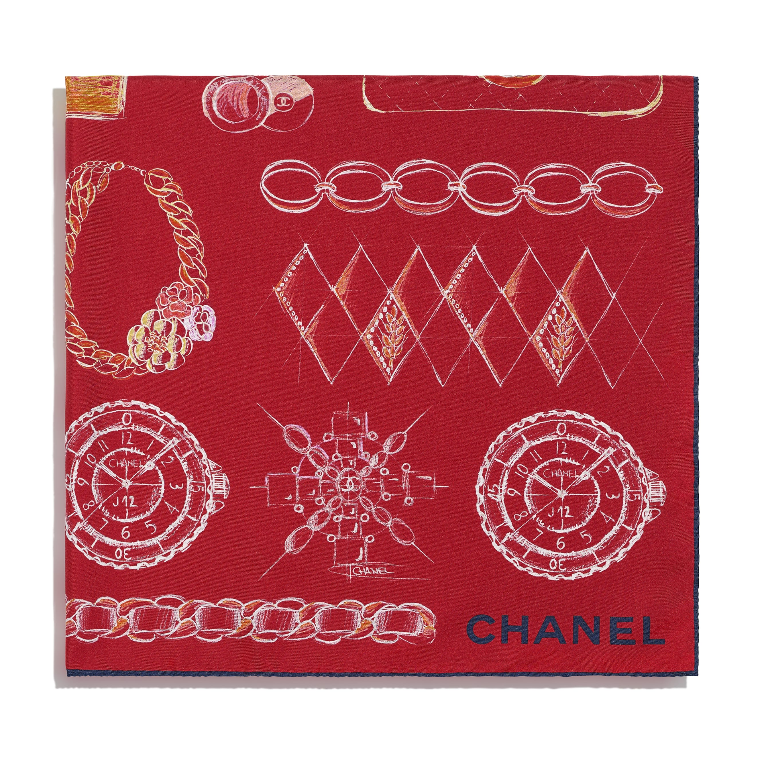 ผ้าพันคอทรงสี่เหลี่ยมจัตุรัส - สีแดงและสีฟ้า - ผ้าไหมทวิลล์ - CHANEL - มุมมองทางอื่น - ดูเวอร์ชันขนาดมาตรฐาน
