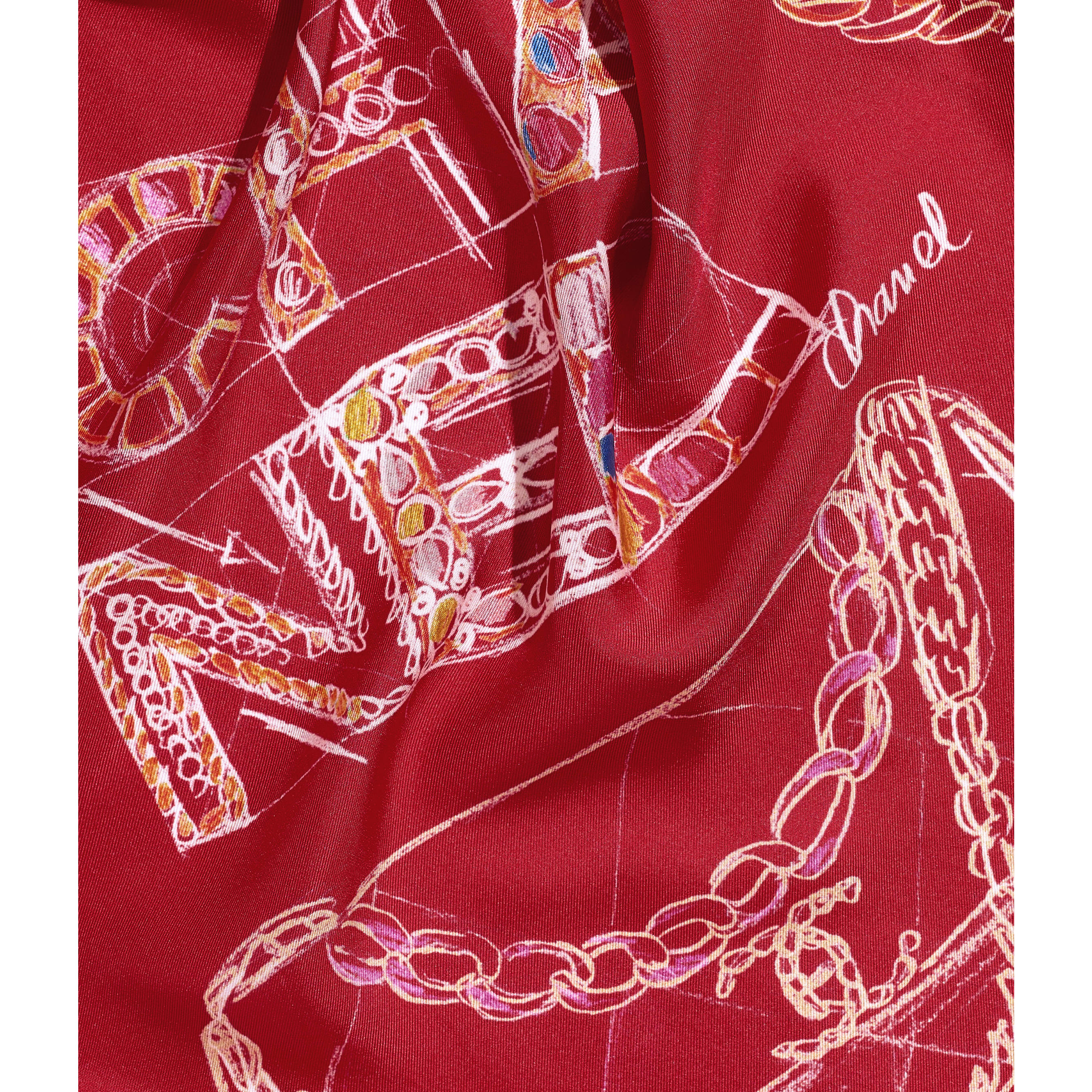 Square Scarf - Red & Blue - Silk Twill - CHANEL - Default view - see standard sized version