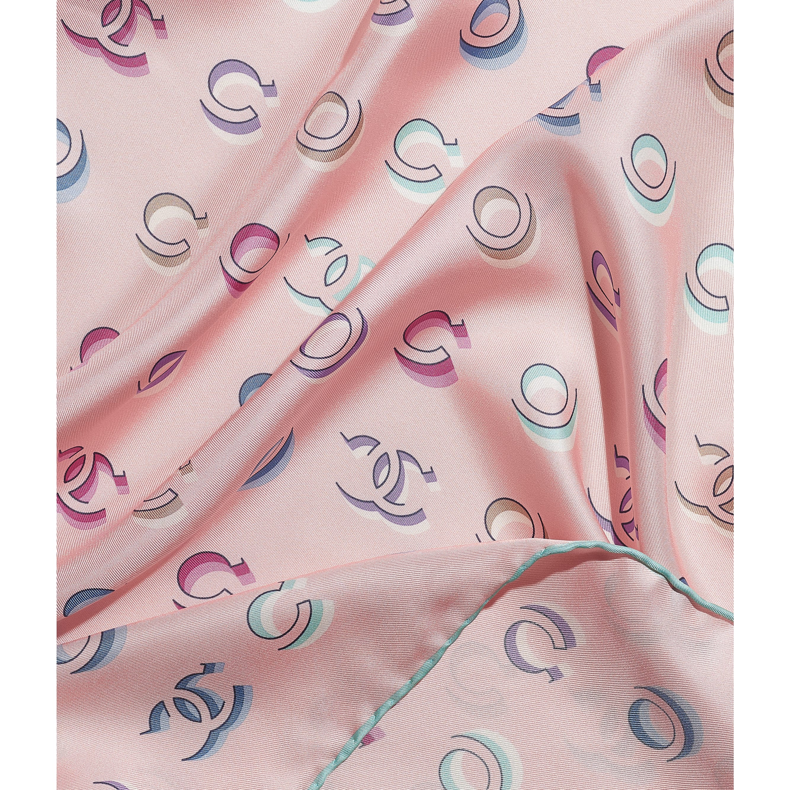 Square Scarf - Turquoise & Pink - Silk Twill - CHANEL - Default view - see standard sized version