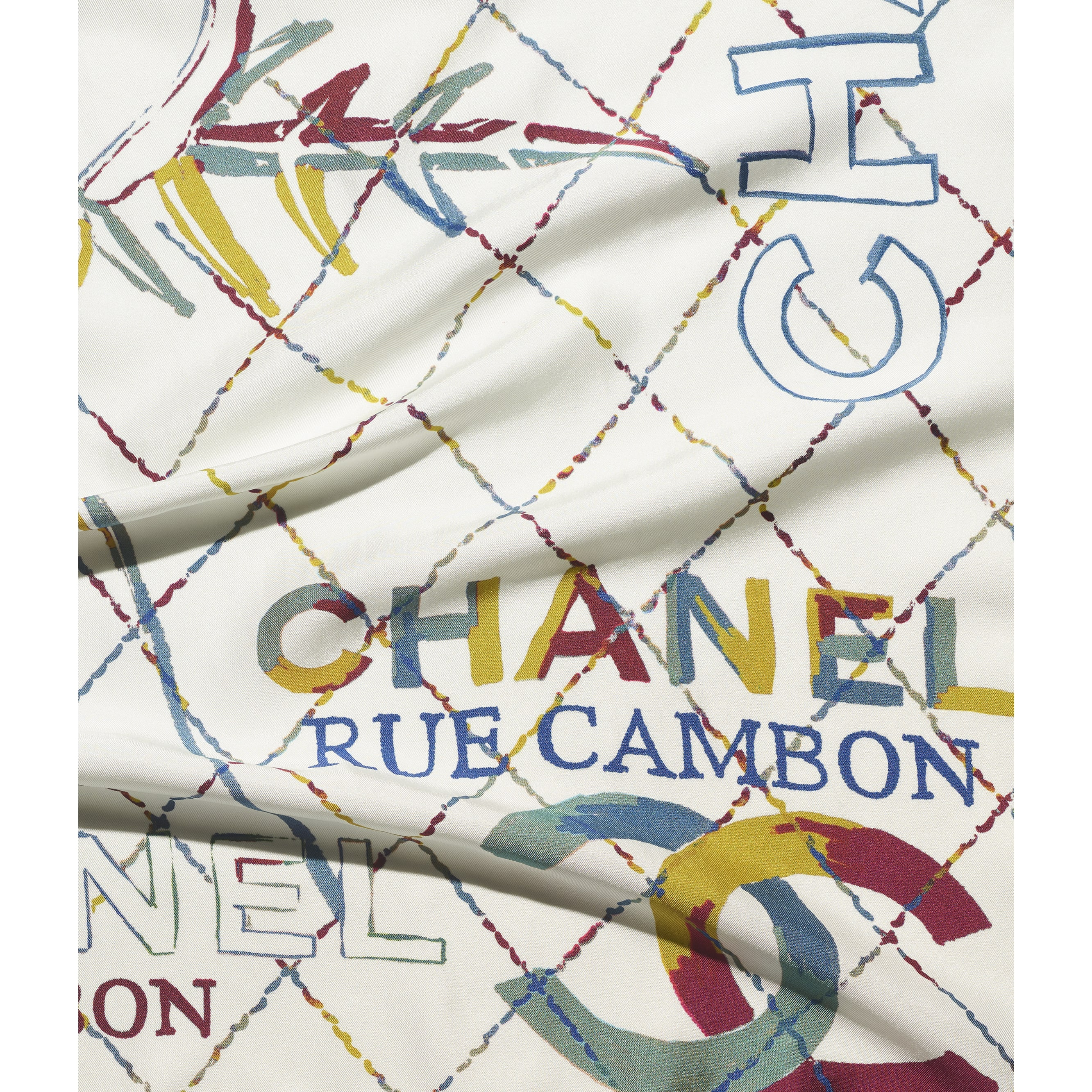 Square Scarf - White & Beige - Silk Twill - CHANEL - Default view - see standard sized version