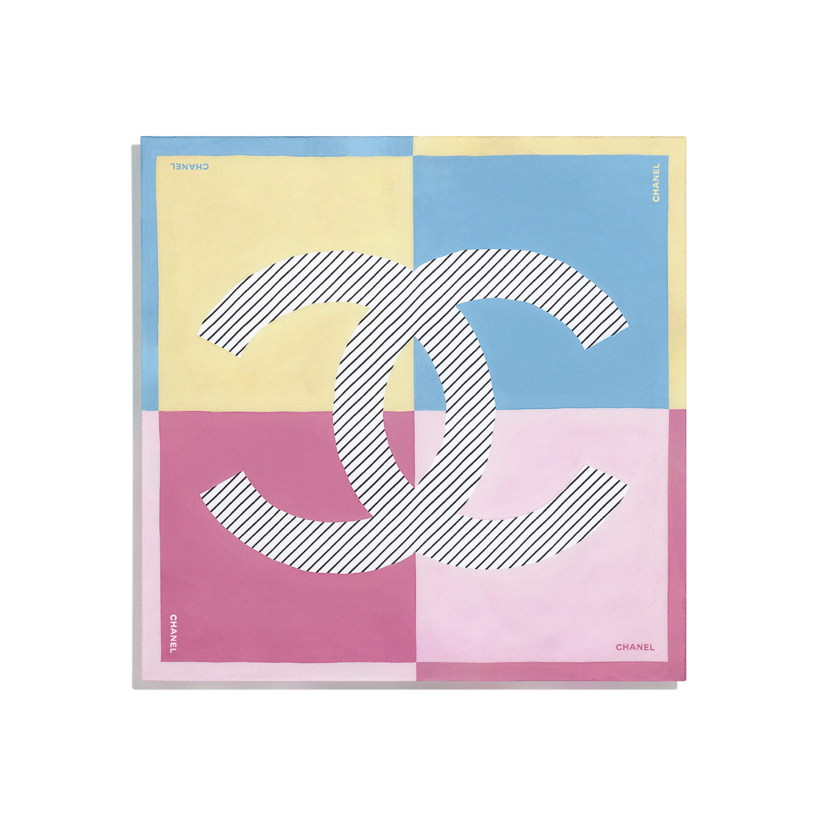 Square Scarf - Yellow, Blue & Pink - Silk Twill - CHANEL - Other view - see standard sized version