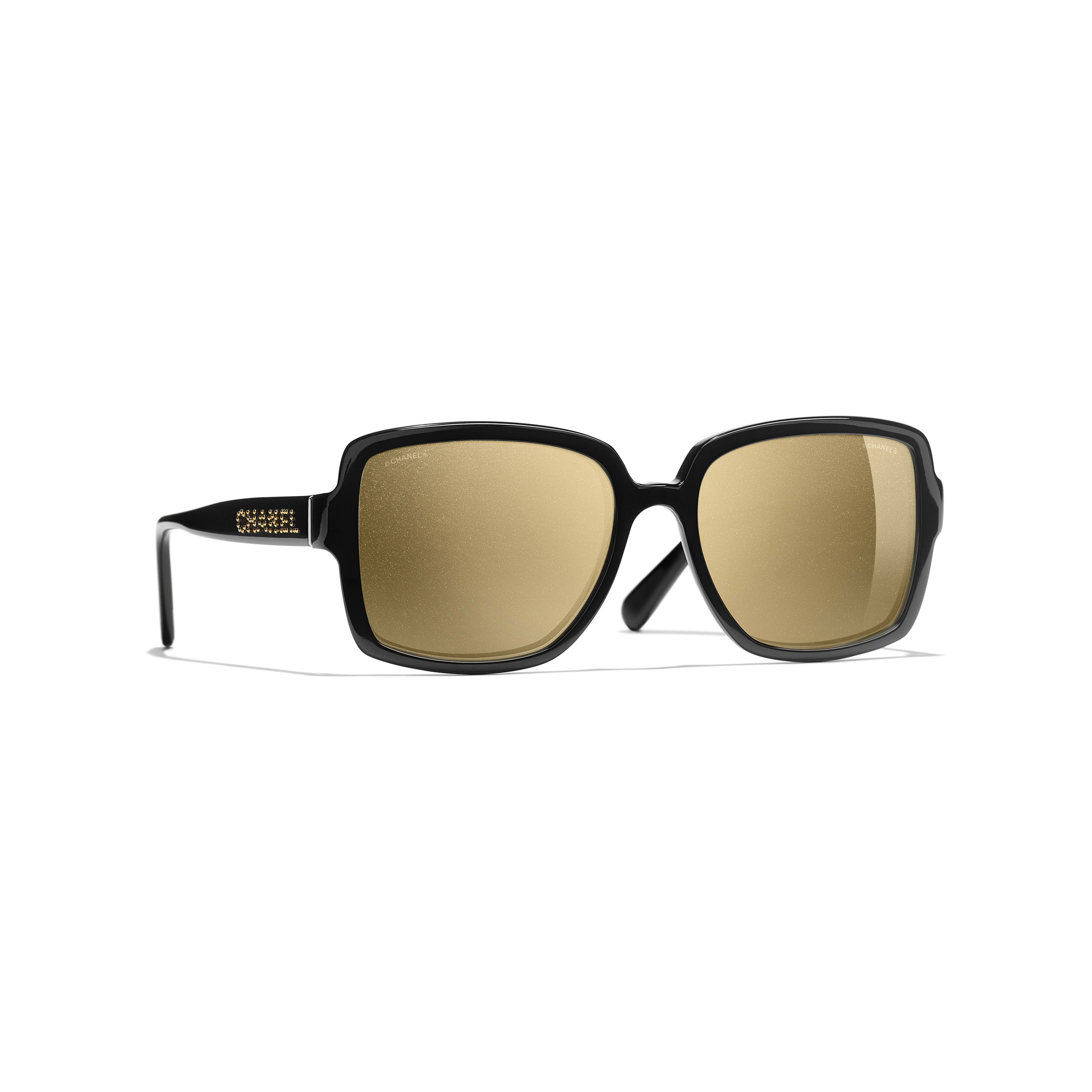 3936c055bd ... Square Sunglasses - Black - Acetate - Gold Lenses - Default view - see  standard sized