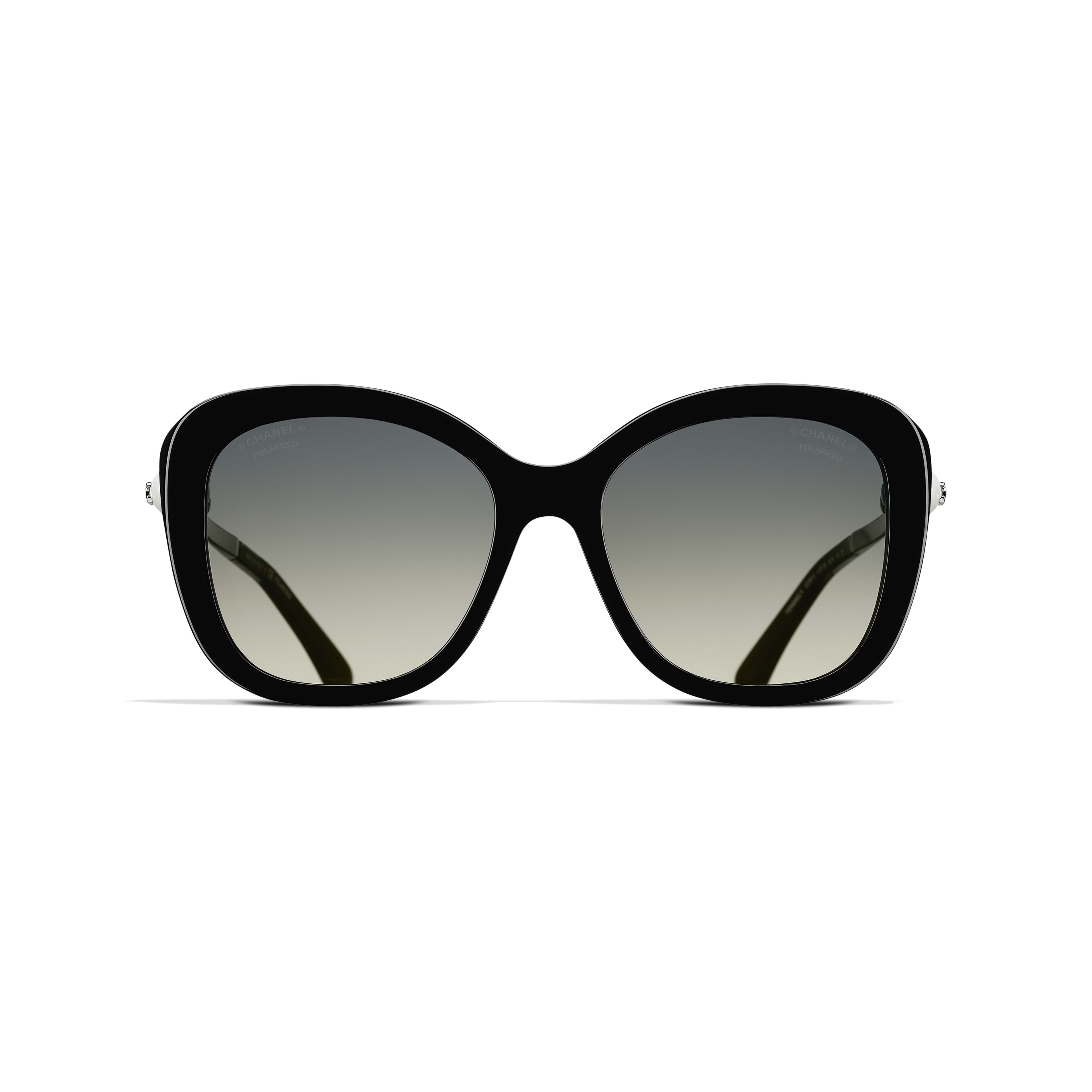 Square Sunglasses - Black - Acetate & Imitation Pearls - CHANEL - Alternative view - see standard sized version