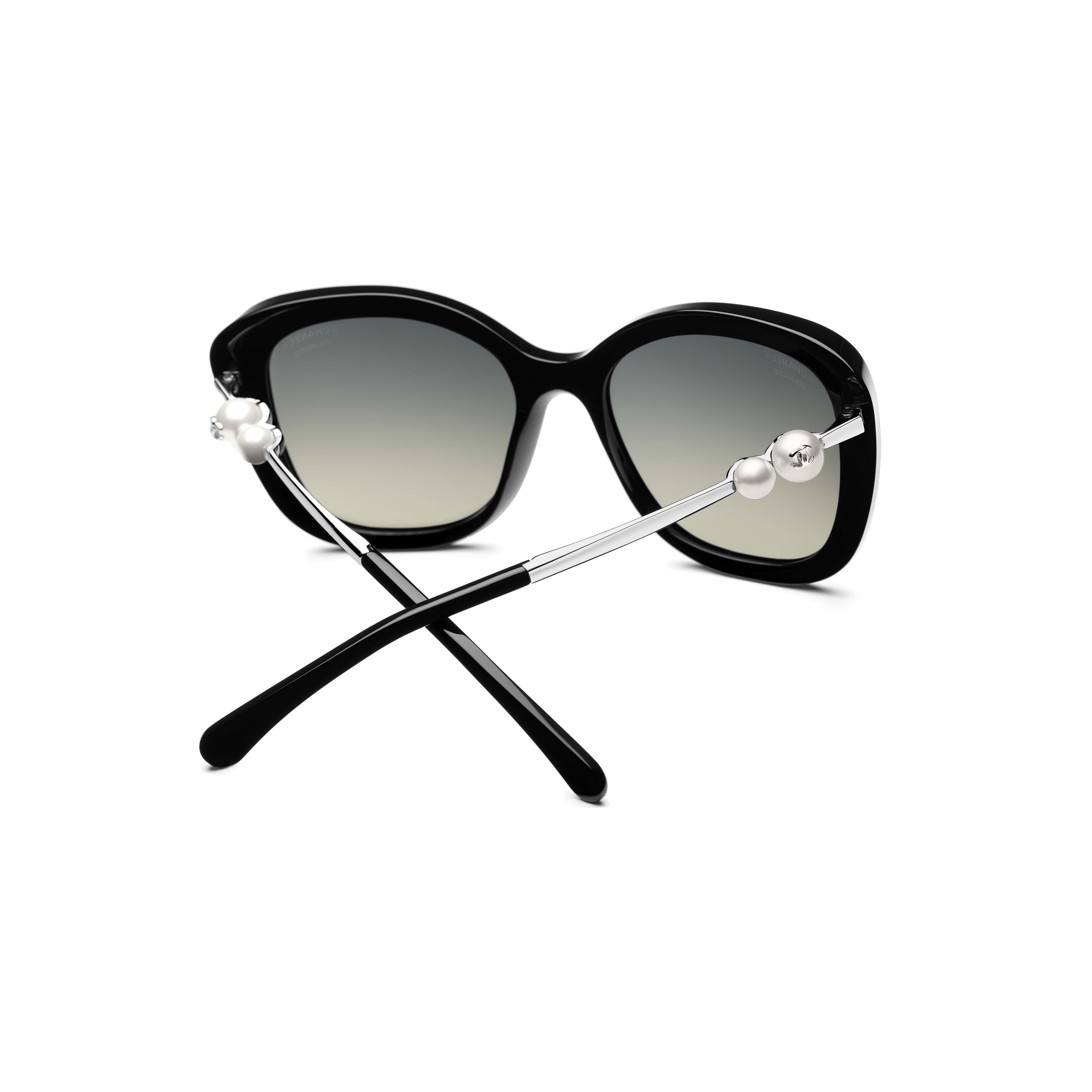 Square Sunglasses - Black - Acetate & Imitation Pearls - CHANEL - Extra view - see standard sized version