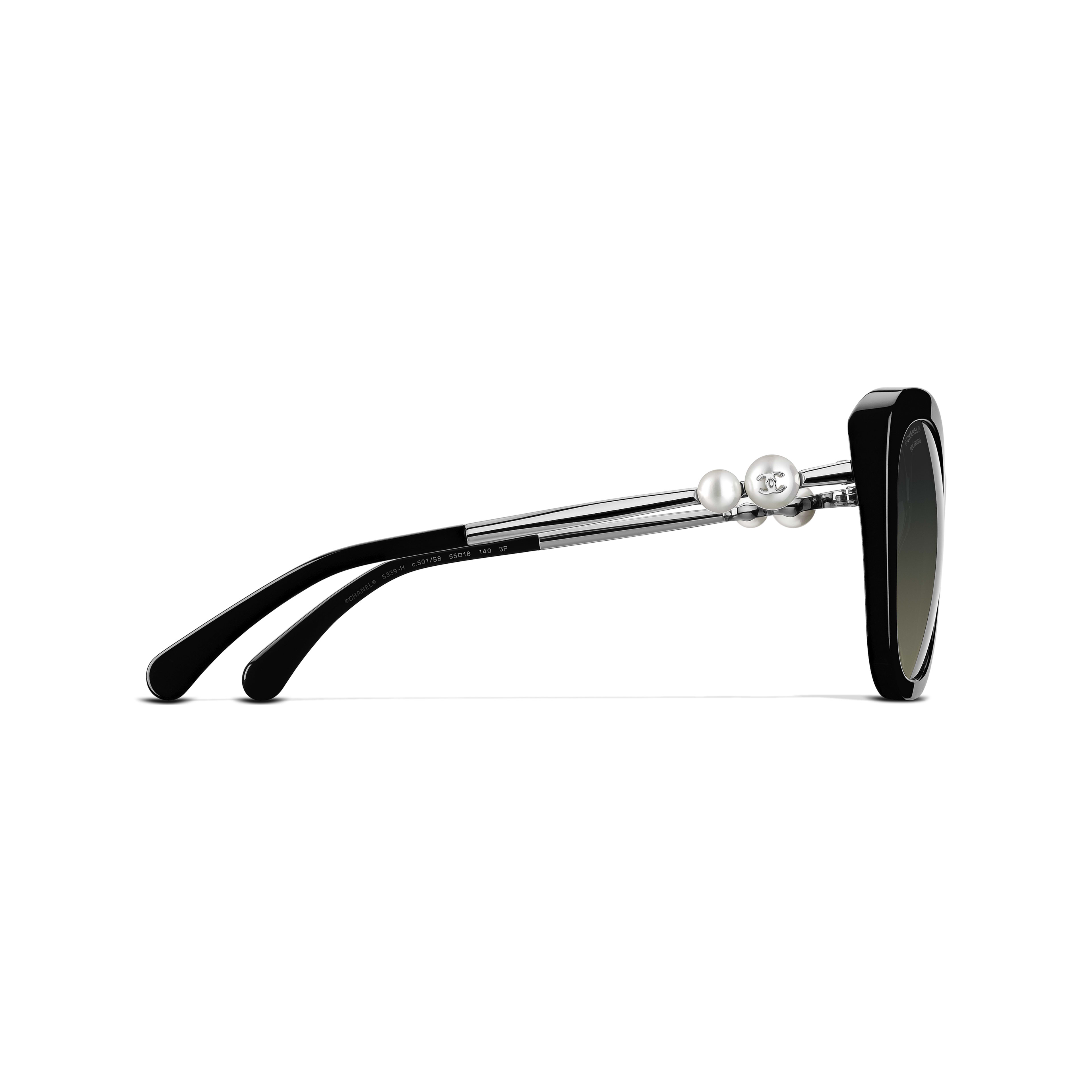 Square Sunglasses - Black - Acetate & Imitation Pearls - CHANEL - Other view - see standard sized version