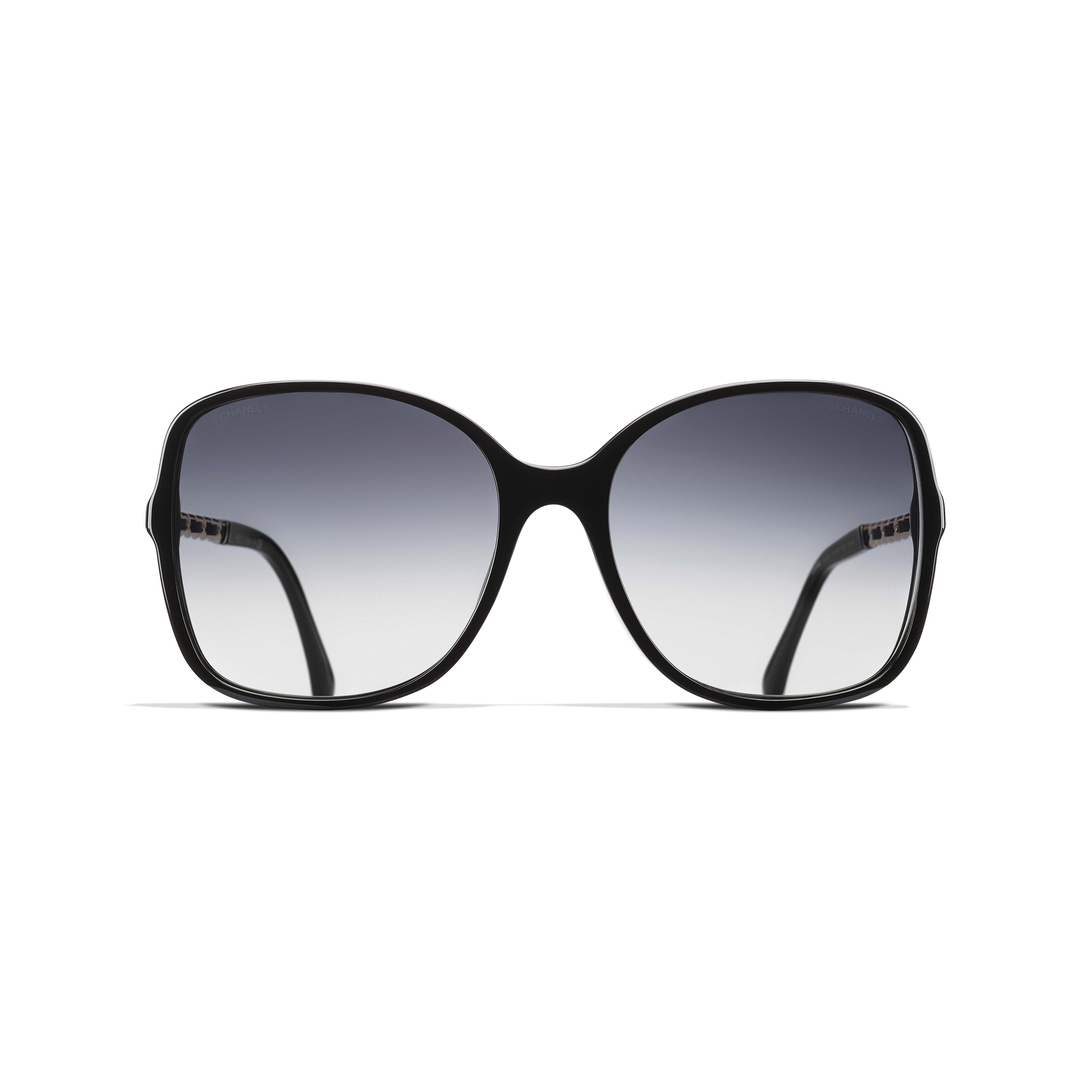 Square Sunglasses - Black - Acetate & Lambskin - Alternative view - see standard sized version