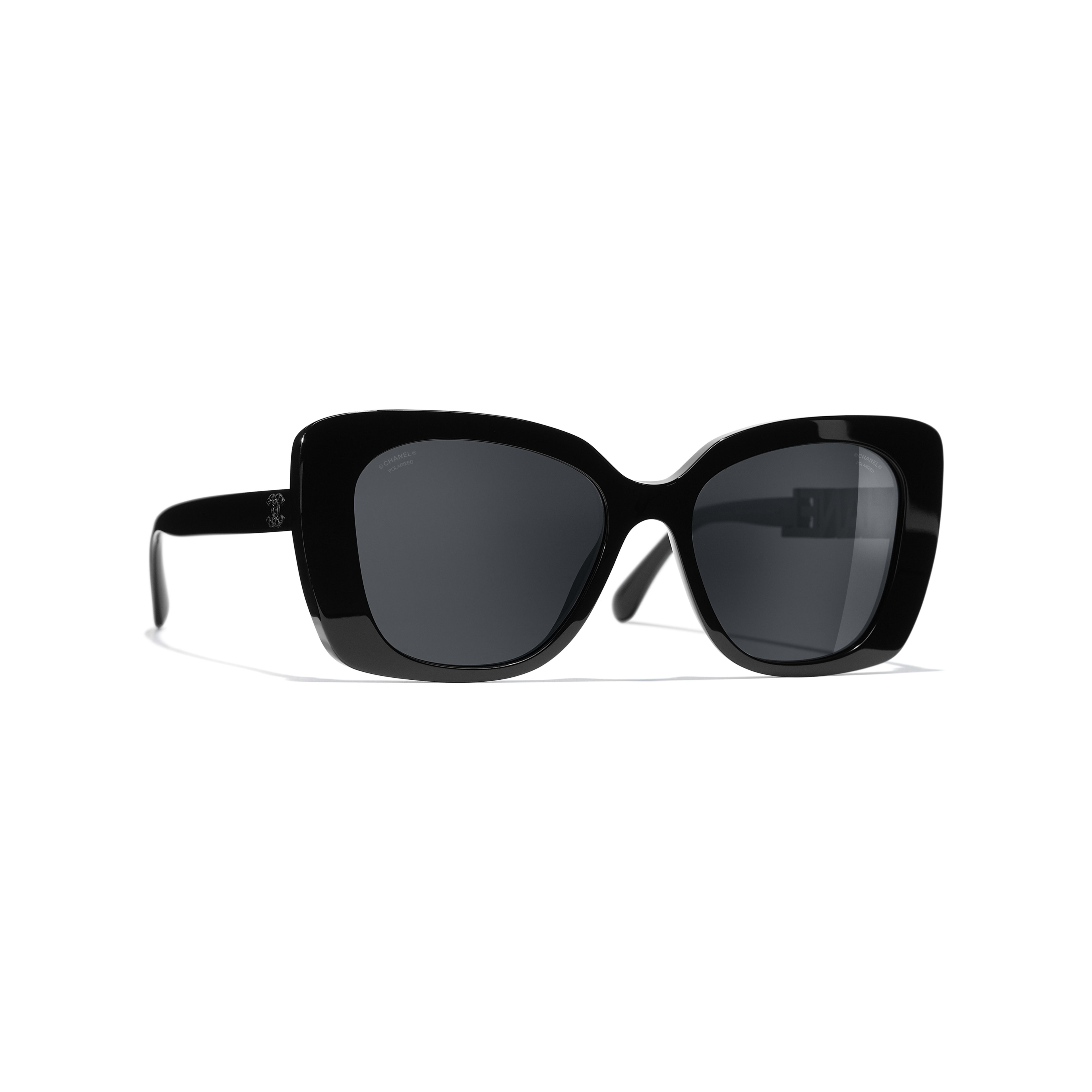 Square Sunglasses - Black - Acetate & Diamanté - CHANEL - Default view - see standard sized version