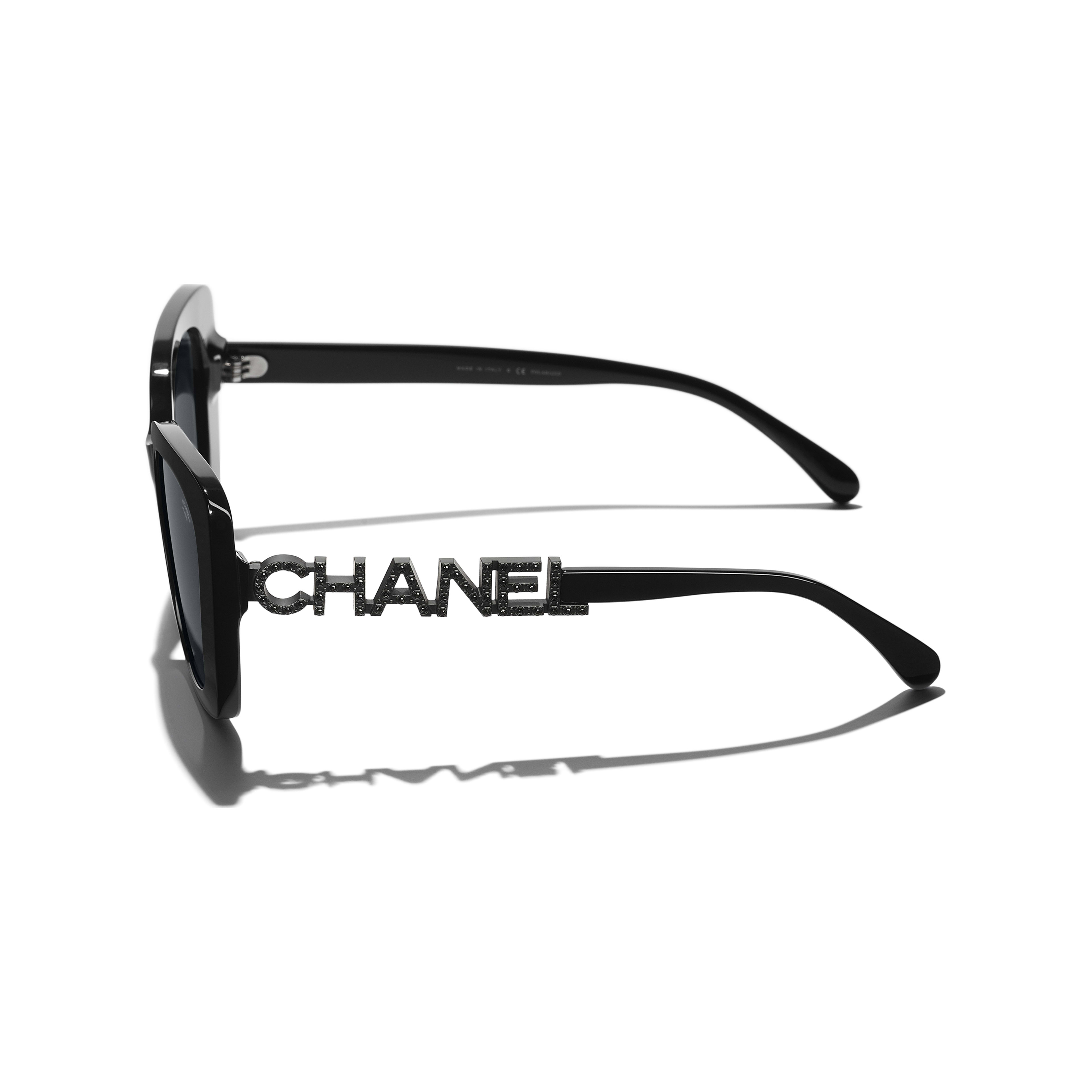 Square Sunglasses - Black - Acetate & Diamanté - CHANEL - Extra view - see standard sized version