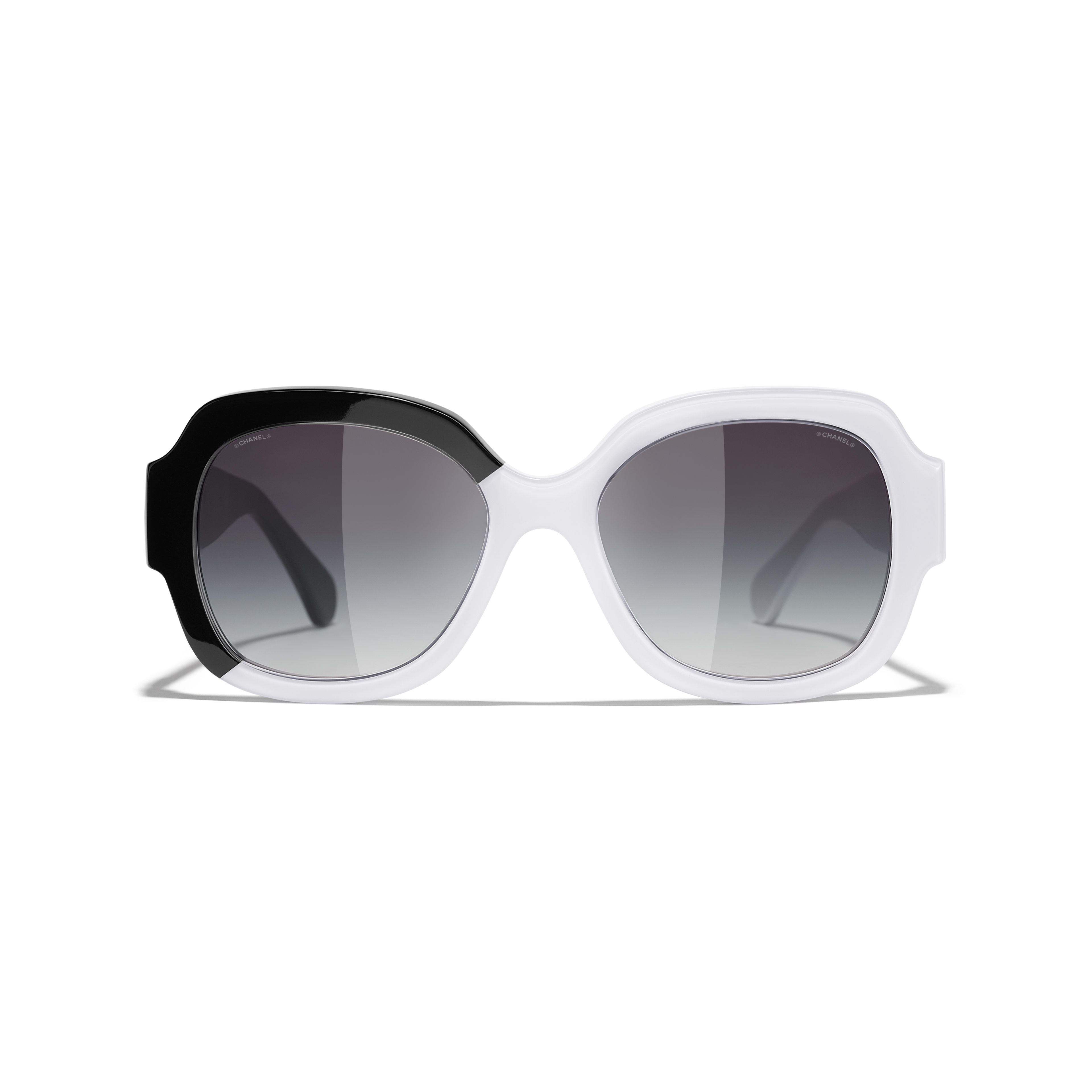 Square Sunglasses - Black & White - Acetate - CHANEL - Alternative view - see standard sized version