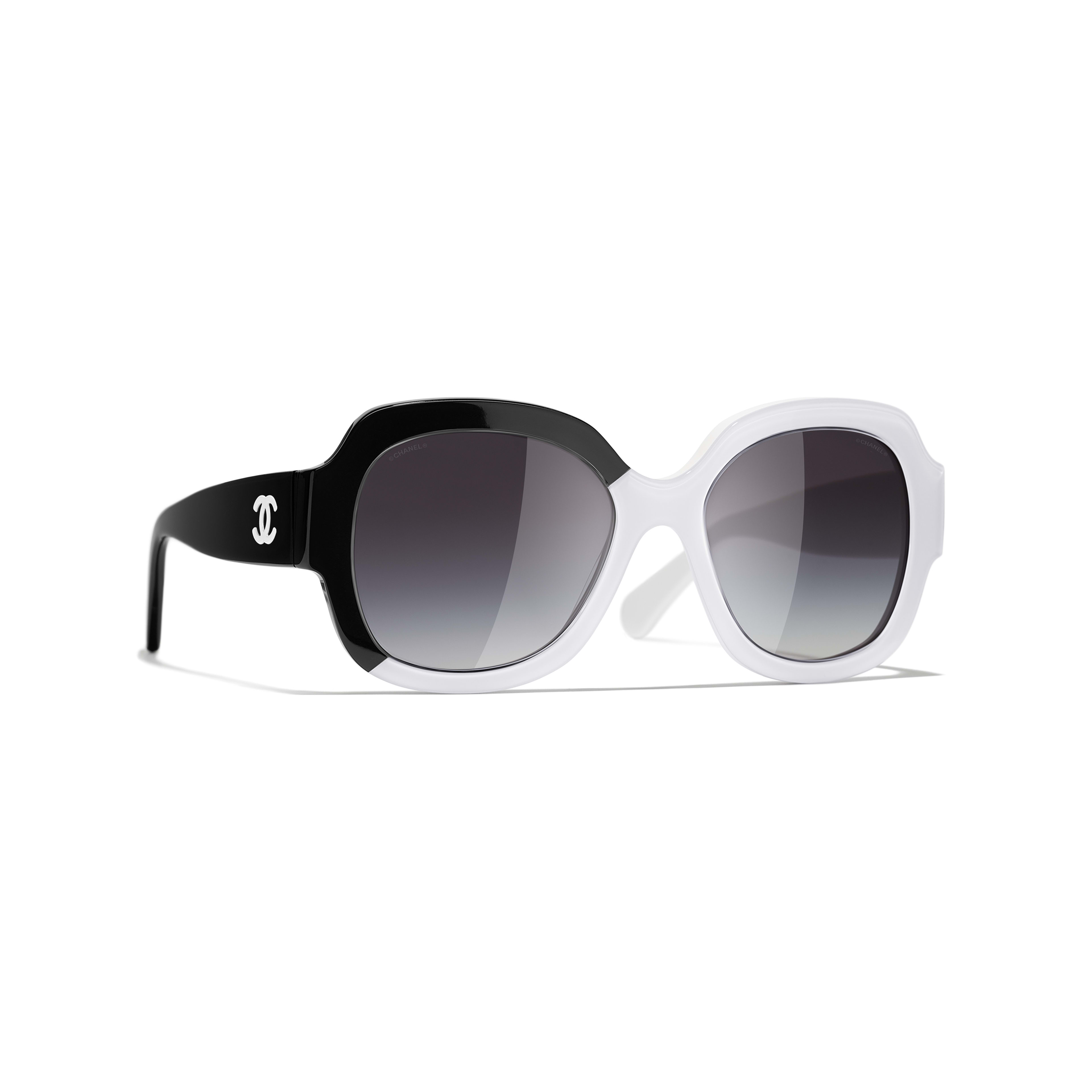 Square Sunglasses - Black & White - Acetate - CHANEL - Default view - see standard sized version