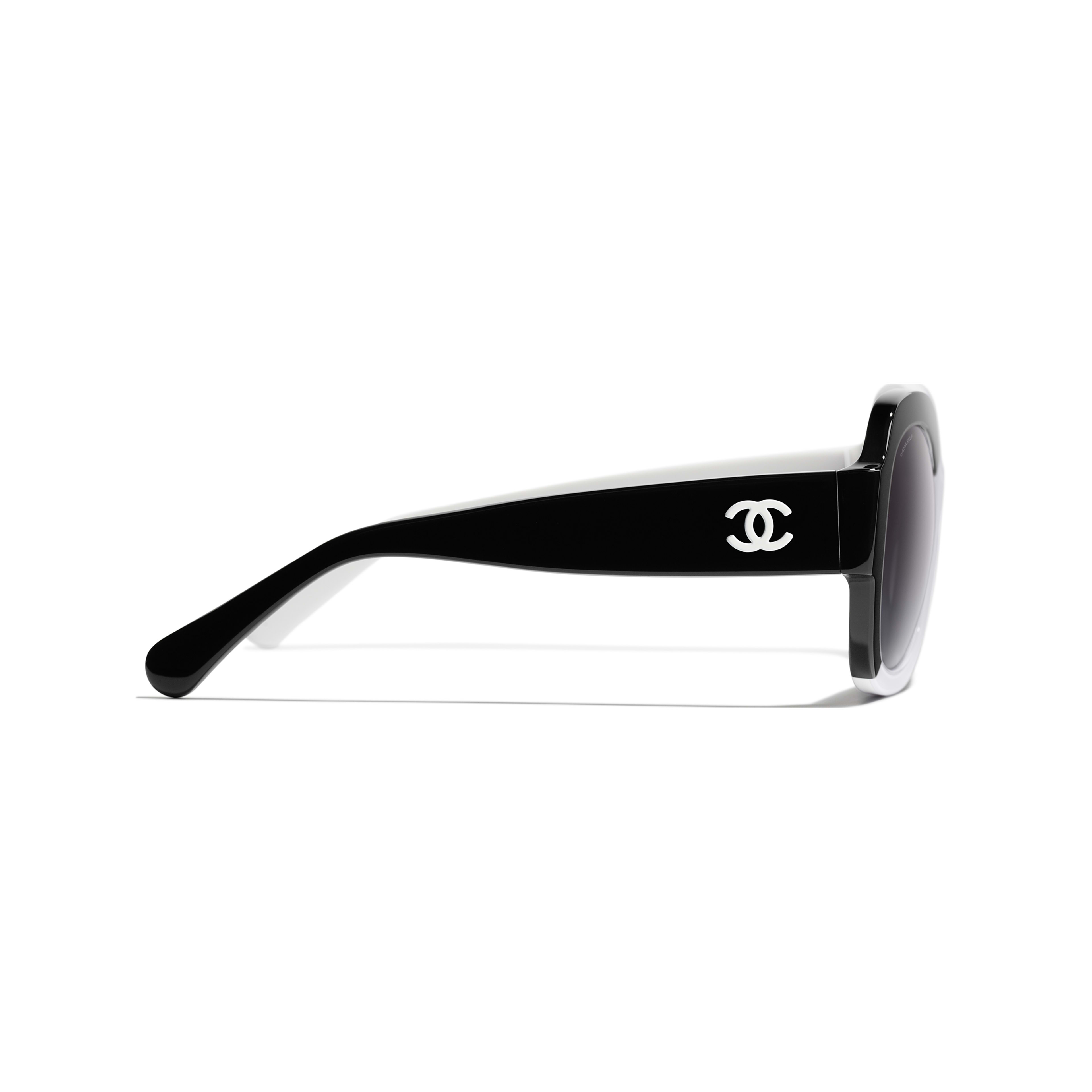Square Sunglasses - Black & White - Acetate - CHANEL - Other view - see standard sized version