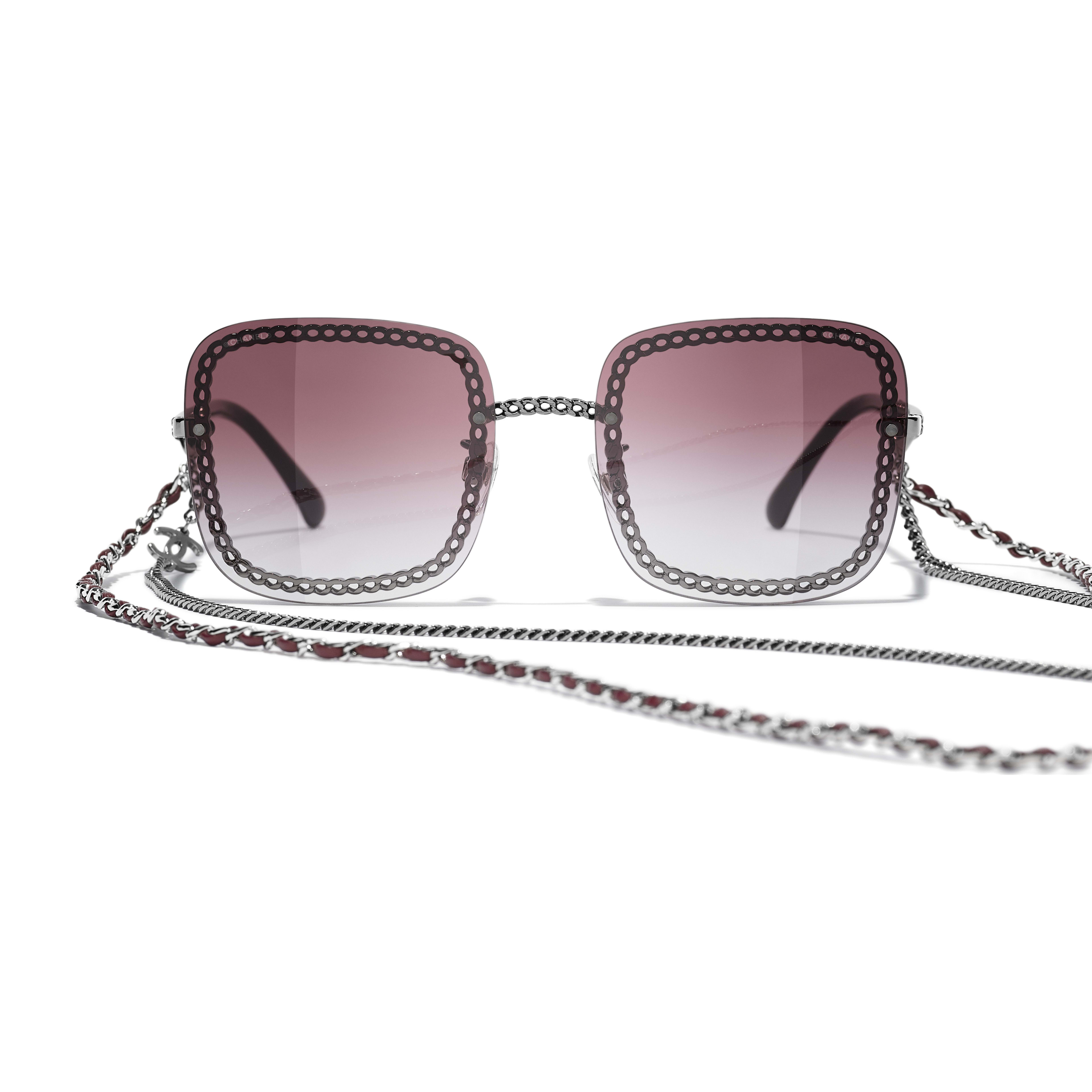 Square Sunglasses - Dark Silver - Metal & Calfskin - CHANEL - Alternative view - see standard sized version
