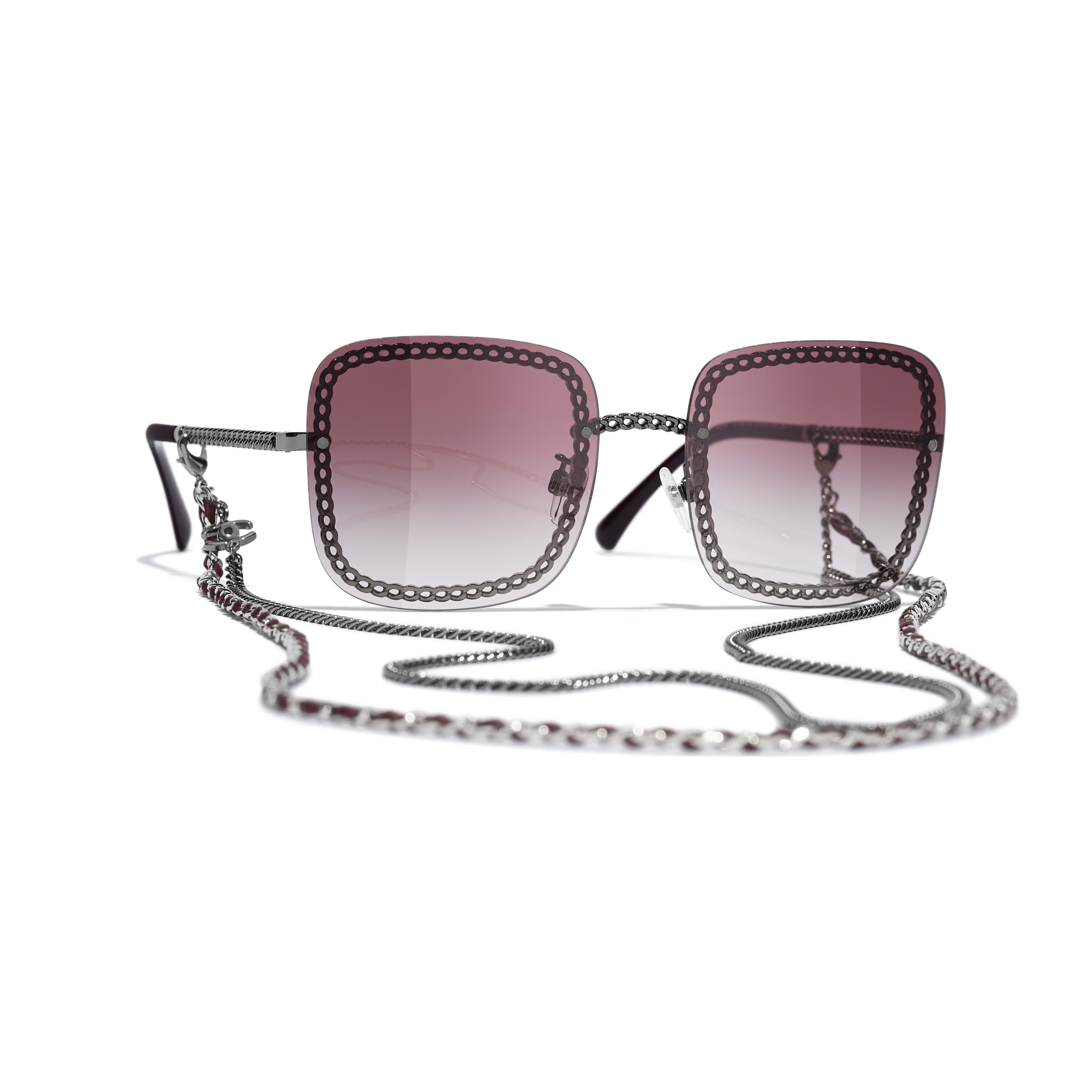 Square Sunglasses - Dark Silver - Metal & Calfskin - CHANEL - Default view - see standard sized version