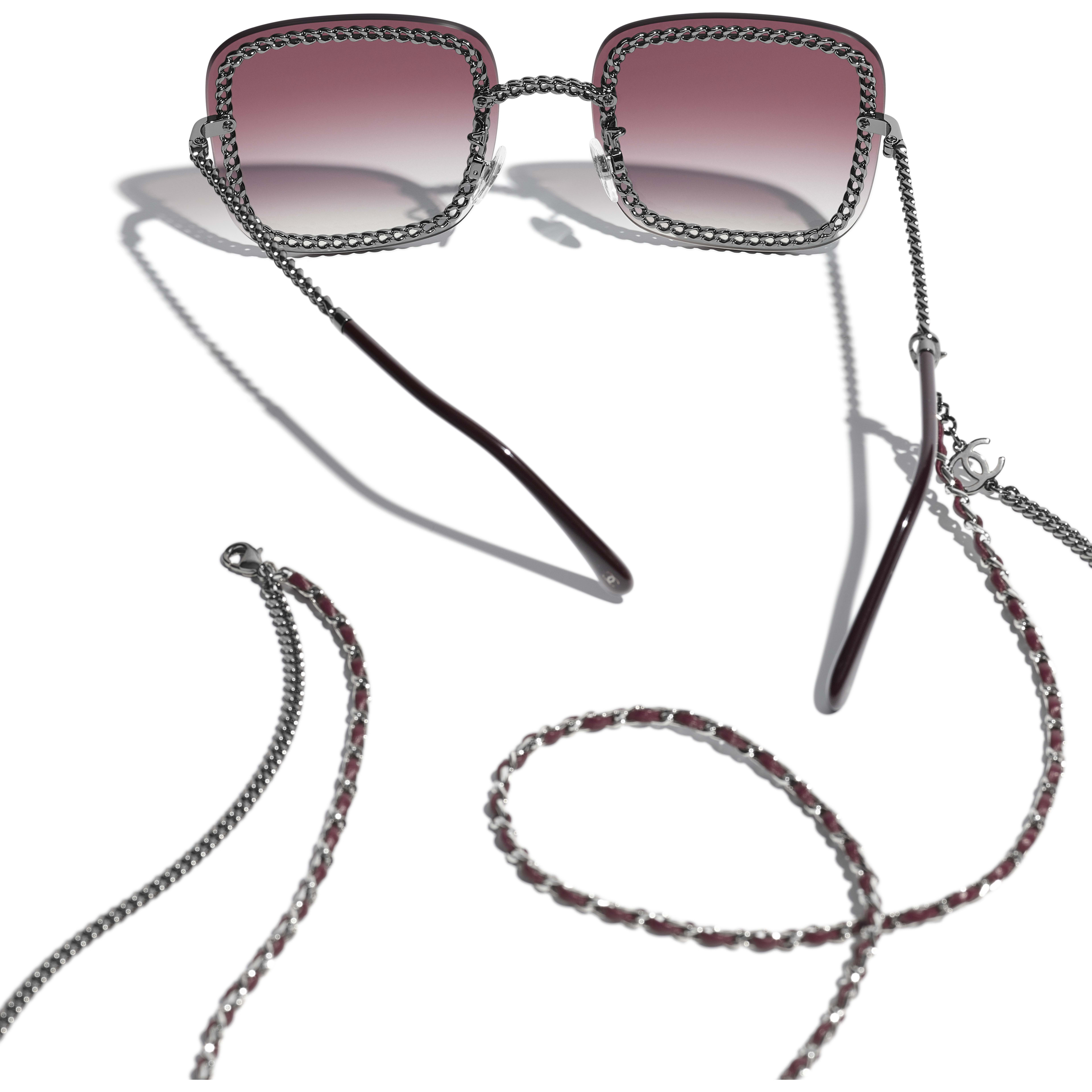 Square Sunglasses - Dark Silver - Metal & Calfskin - CHANEL - Extra view - see standard sized version