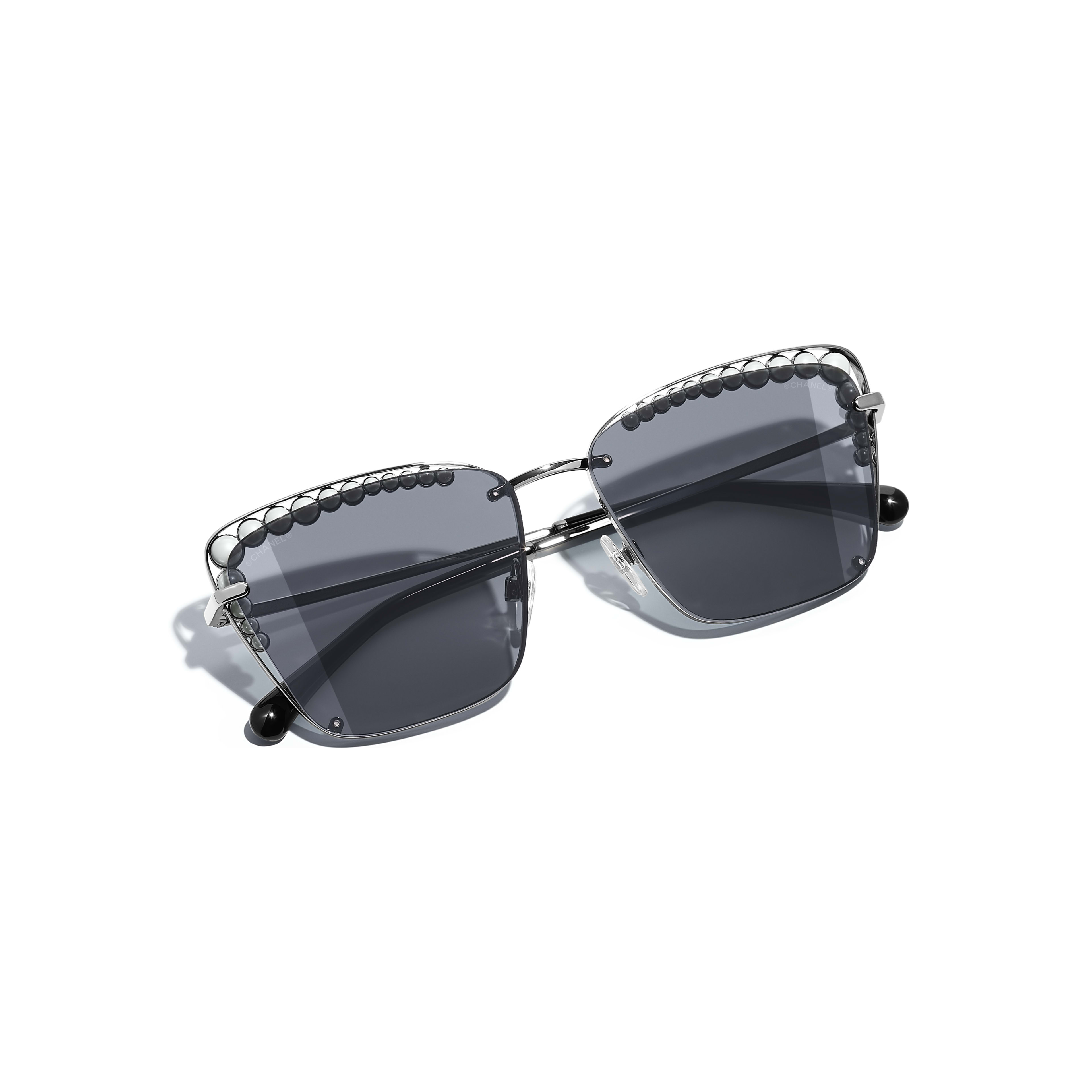 Square Sunglasses - Dark Silver - Metal & Imitation Pearls - Extra view - see standard sized version