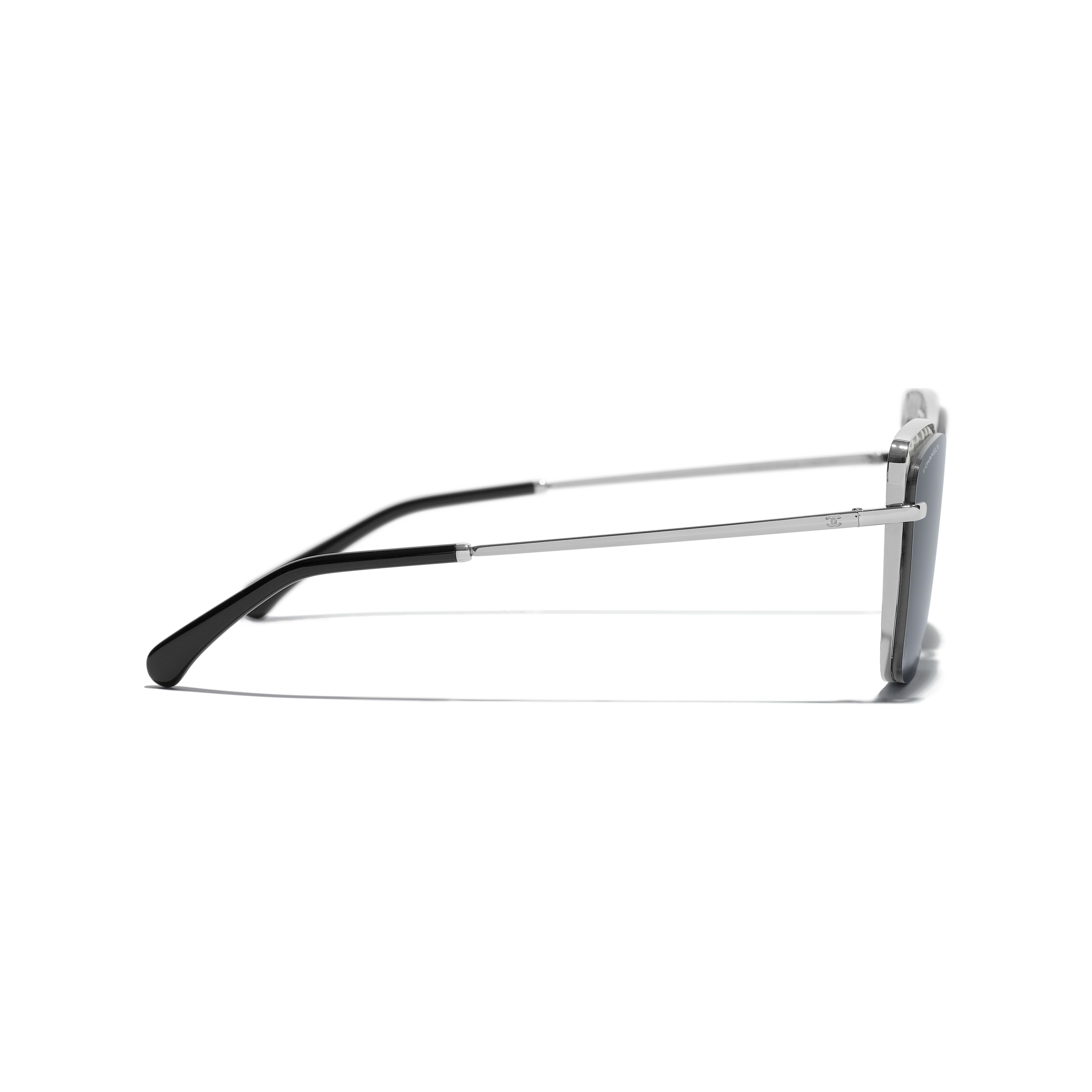 Square Sunglasses - Dark Silver - Metal & Imitation Pearls - Other view - see standard sized version