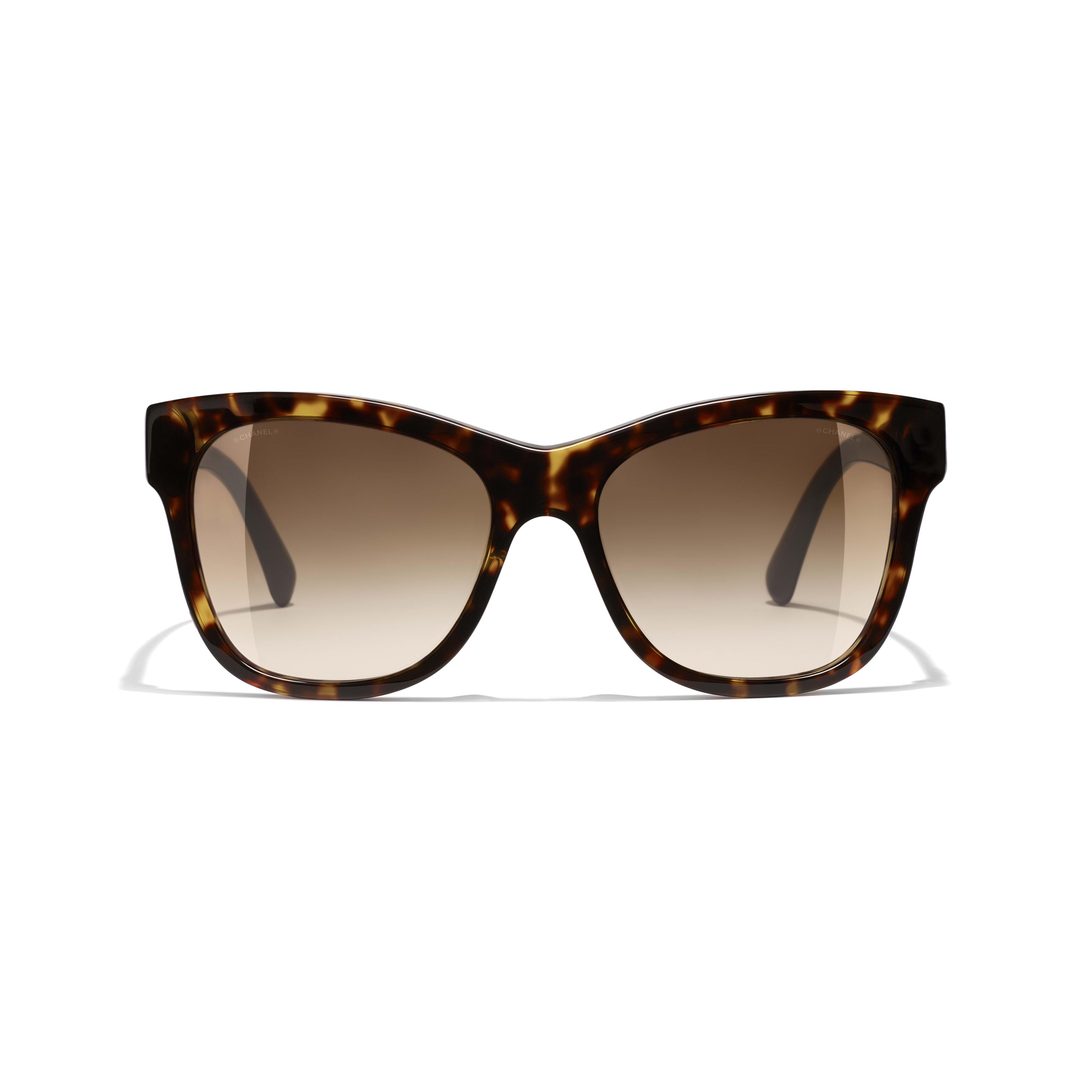 Square Sunglasses - Dark Tortoise - Acetate - CHANEL - Alternative view - see standard sized version