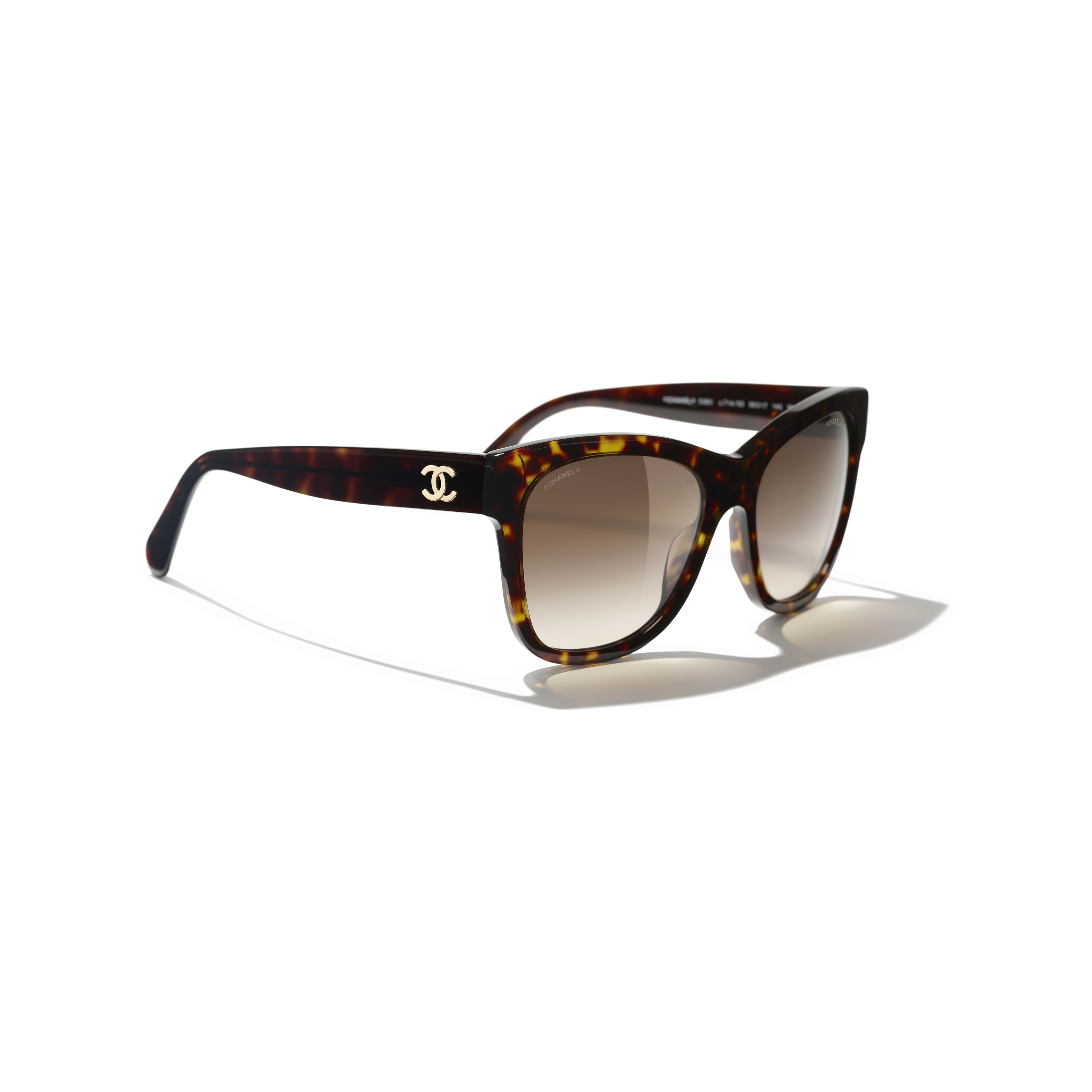 Square Sunglasses - Dark Tortoise - Acetate - CHANEL - Extra view - see standard sized version
