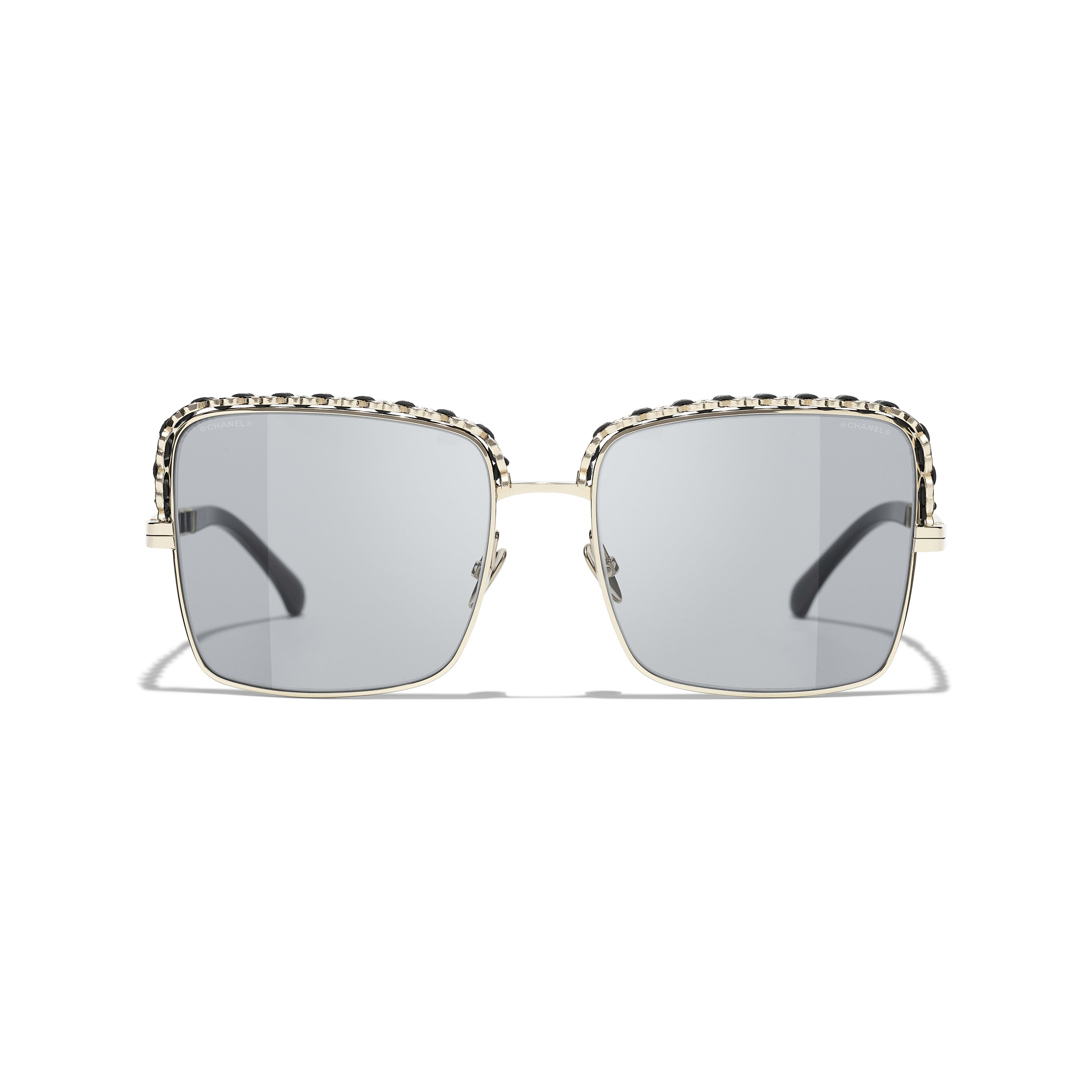 Square Sunglasses - Gold - Metal & Calfskin - CHANEL - Alternative view - see standard sized version