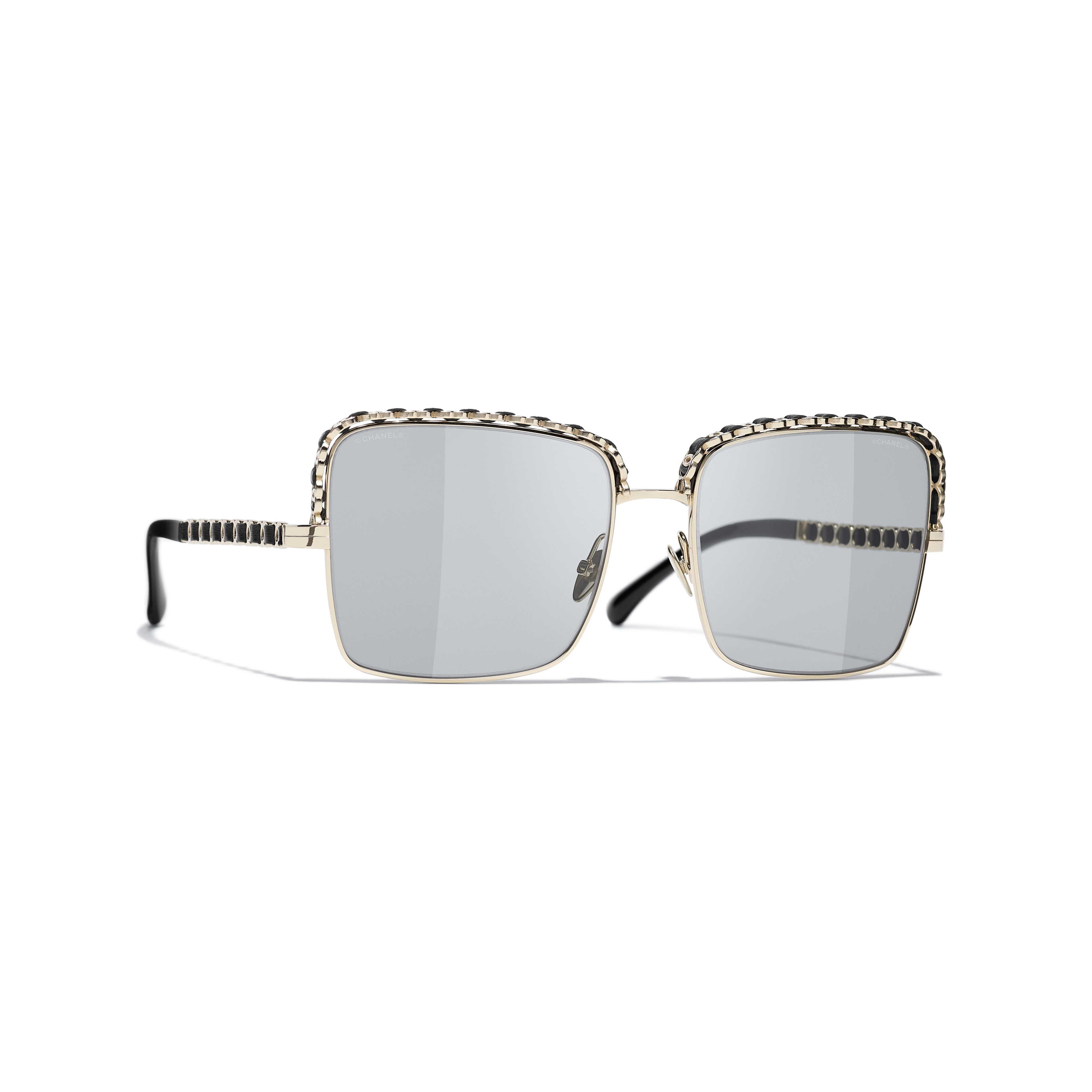 Square Sunglasses - Gold - Metal & Lambskin - CHANEL - Default view - see standard sized version