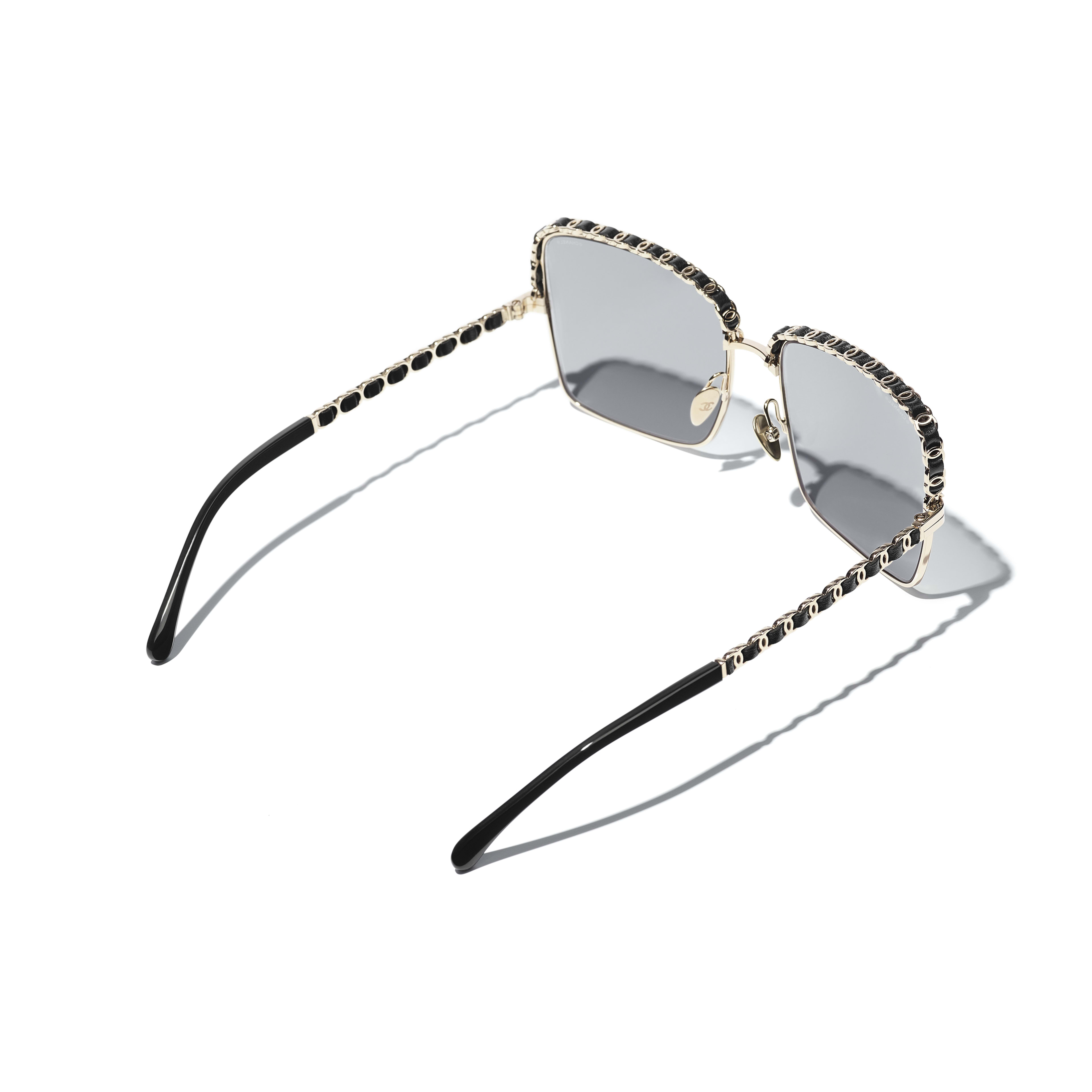 Square Sunglasses - Gold - Metal & Lambskin - CHANEL - Extra view - see standard sized version