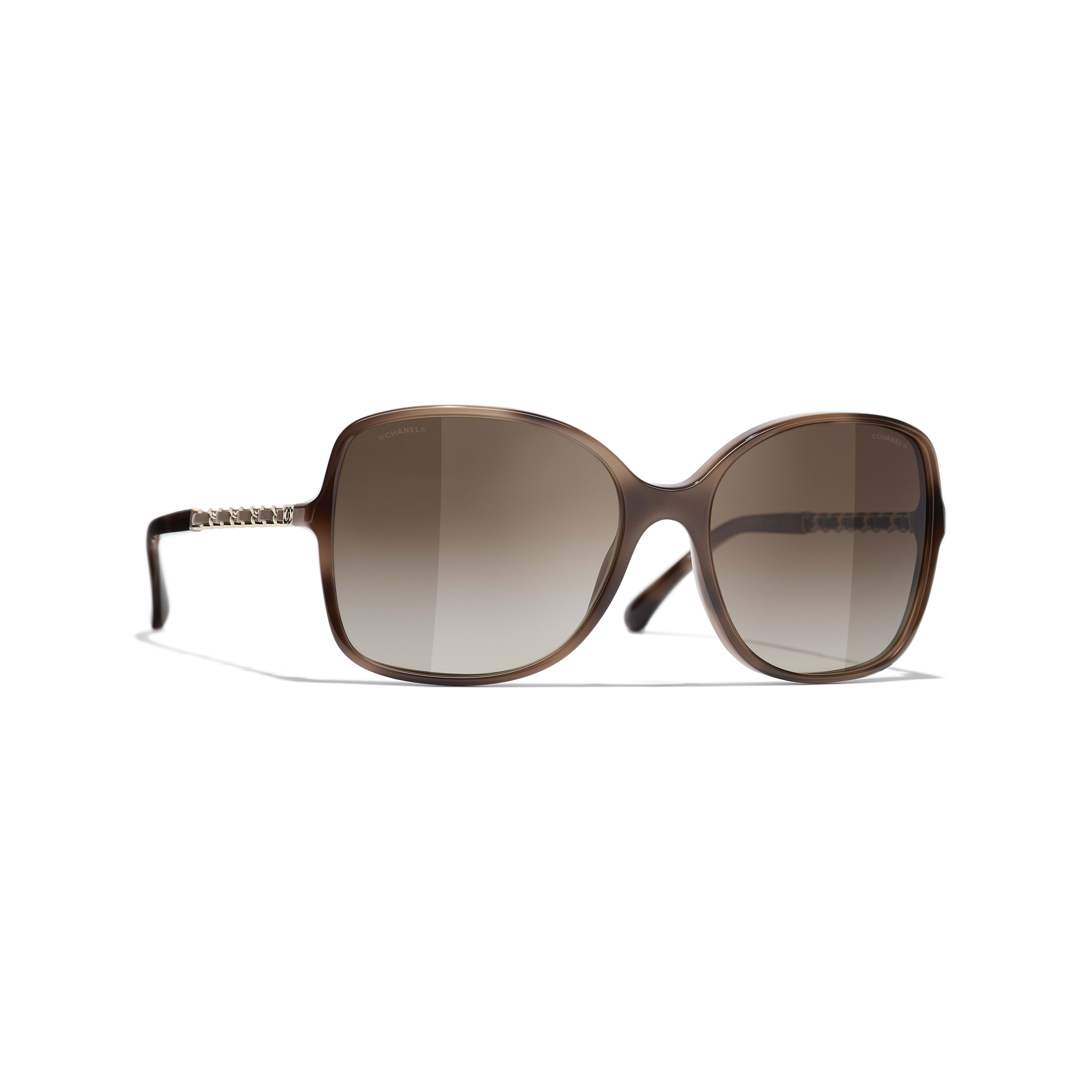 Square Sunglasses - Tortoise - Acetate & Lambskin - CHANEL - Default view - see standard sized version