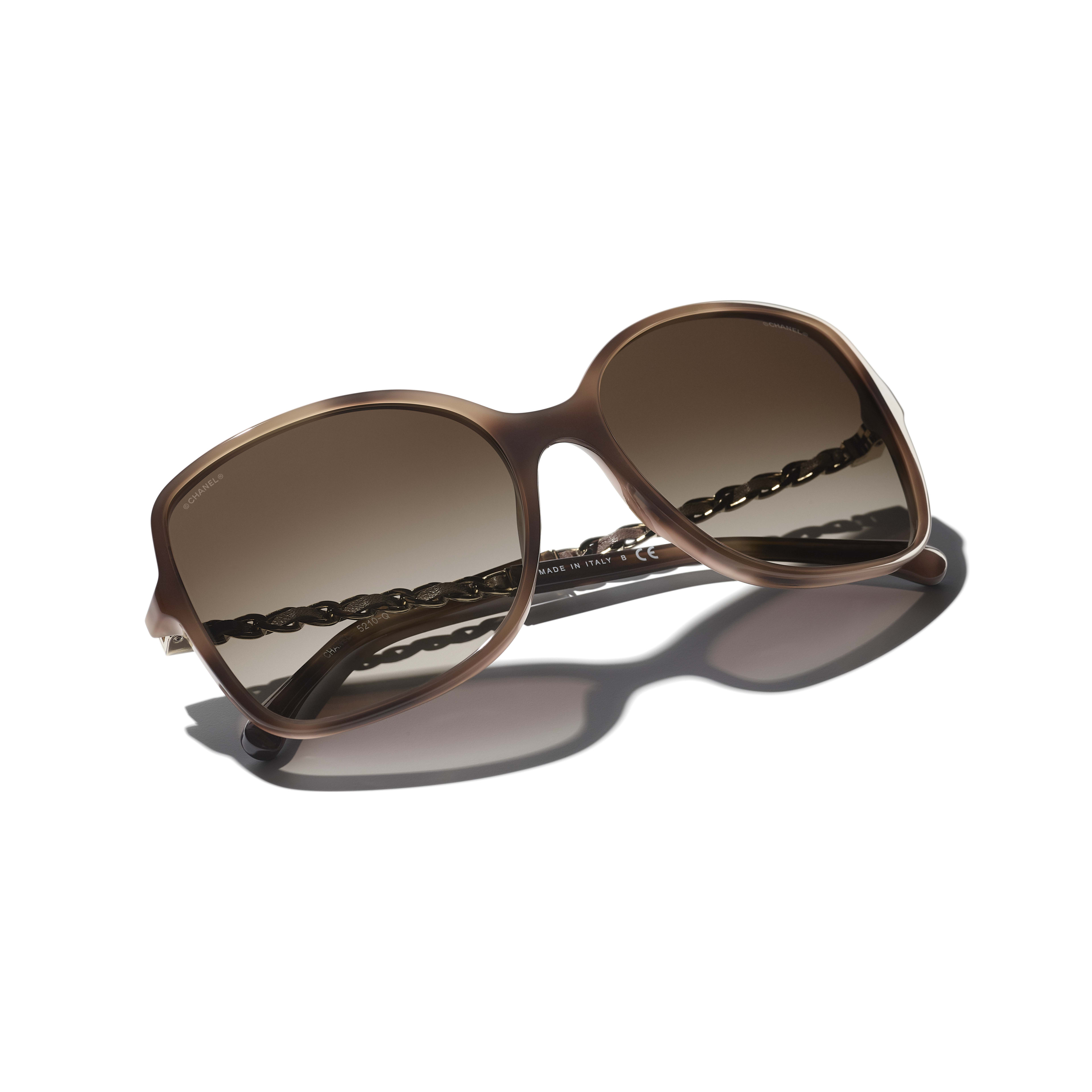 Square Sunglasses - Tortoise - Acetate & Lambskin - CHANEL - Extra view - see standard sized version
