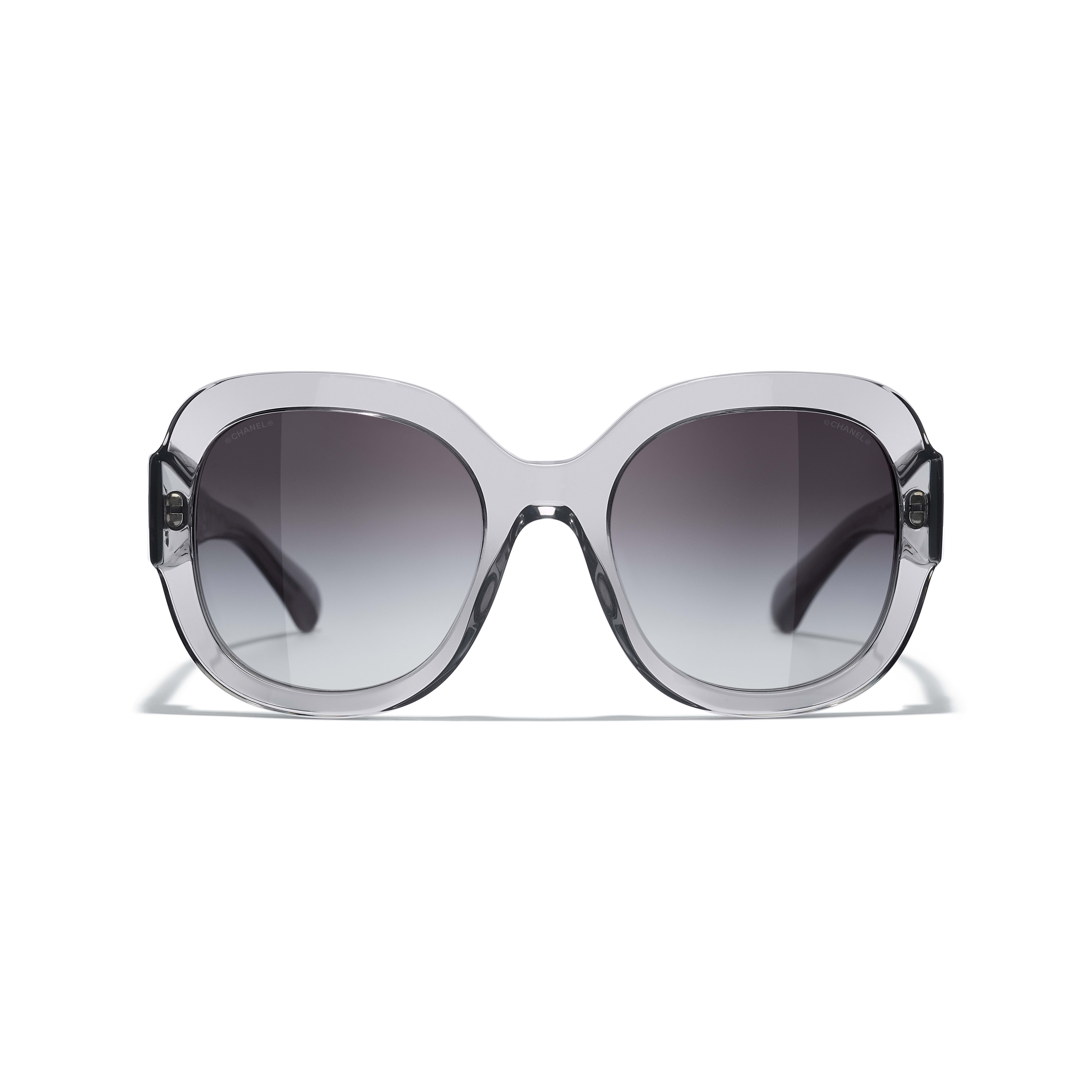Square Sunglasses - Transparent Grey - Acetate & Metal - CHANEL - Alternative view - see standard sized version