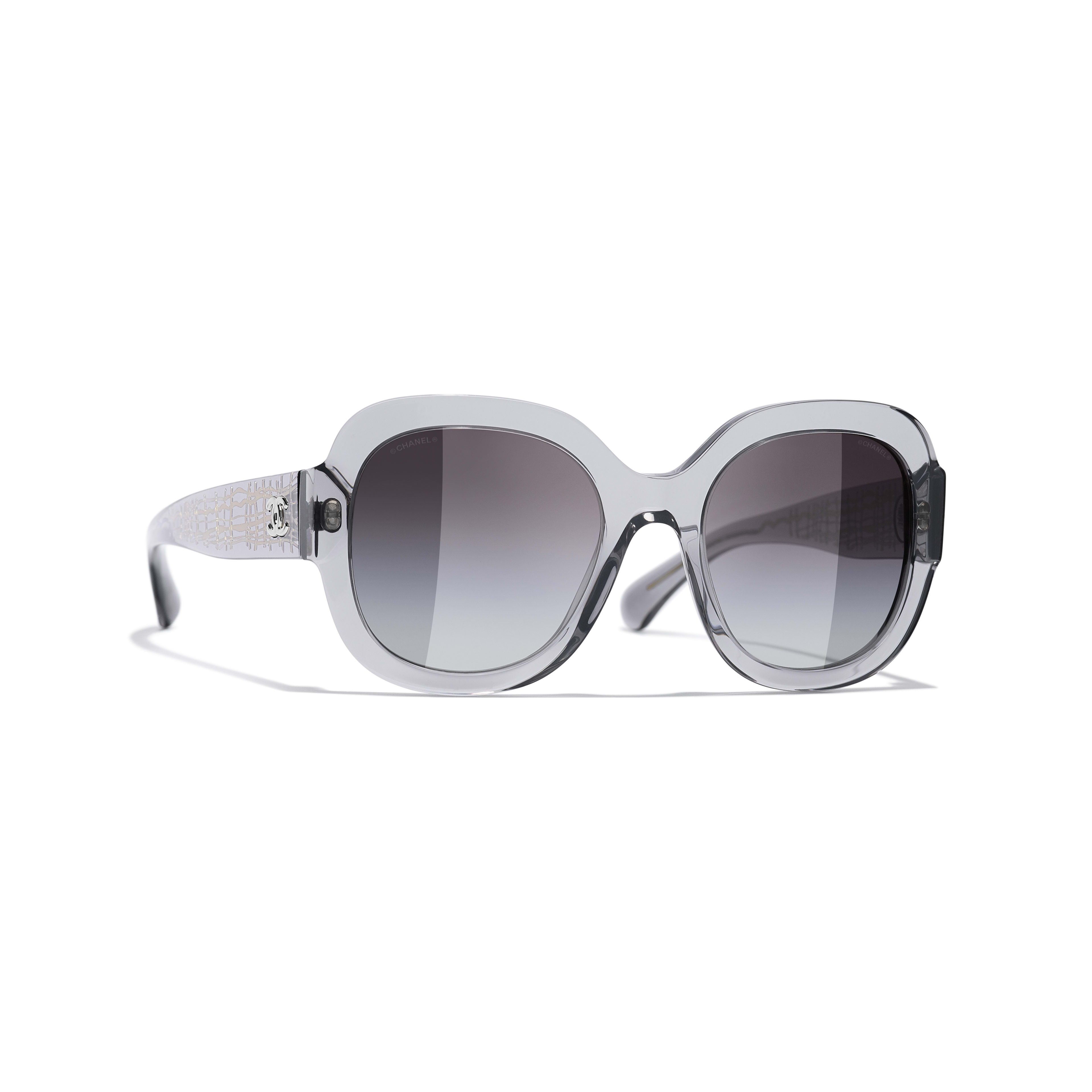 Square Sunglasses - Transparent Grey - Acetate & Metal - CHANEL - Default view - see standard sized version