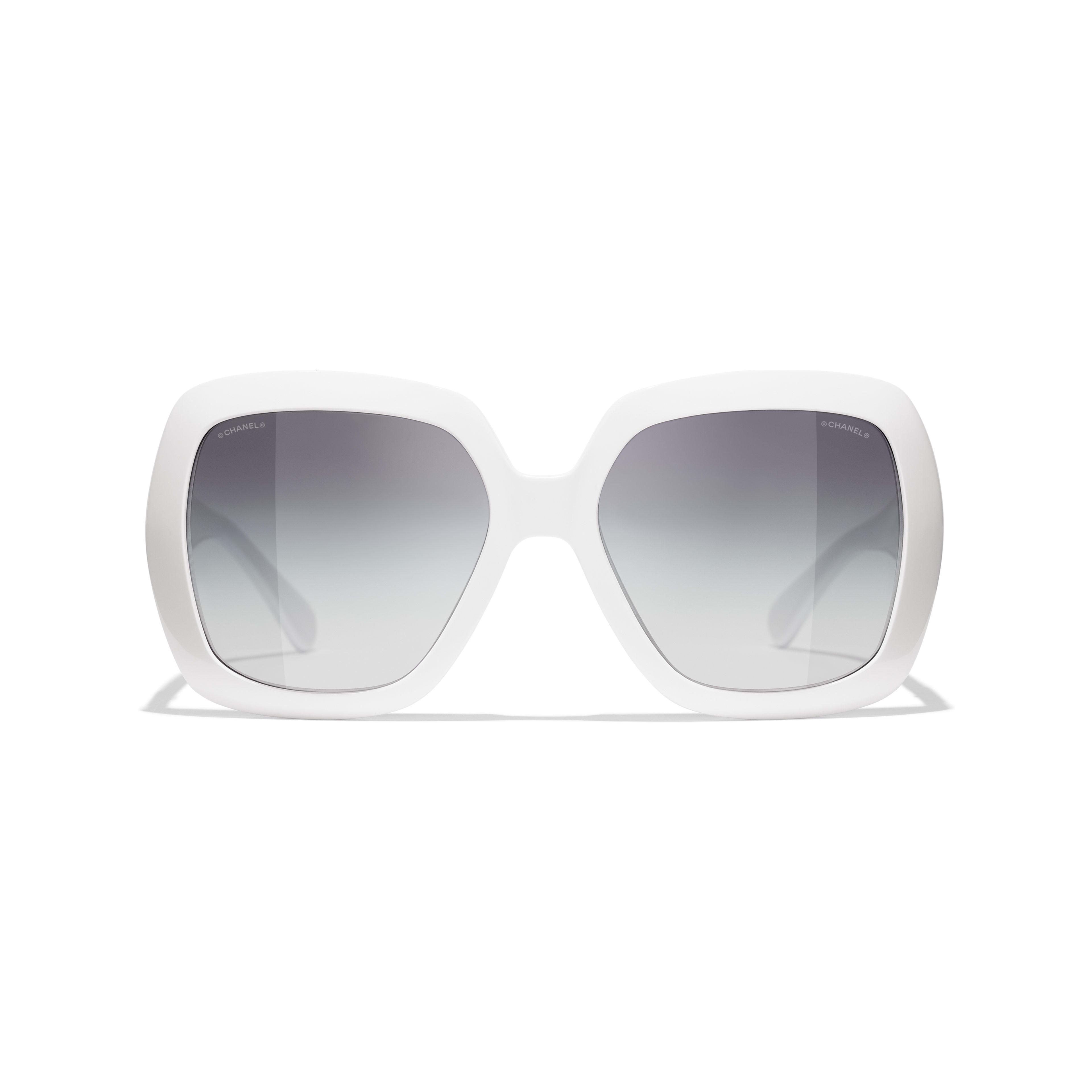 แว่นตากันแดดทรงเหลี่ยม - สีขาว - อะซิเตท - CHANEL - มุมมองทางอื่น - ดูเวอร์ชันขนาดมาตรฐาน