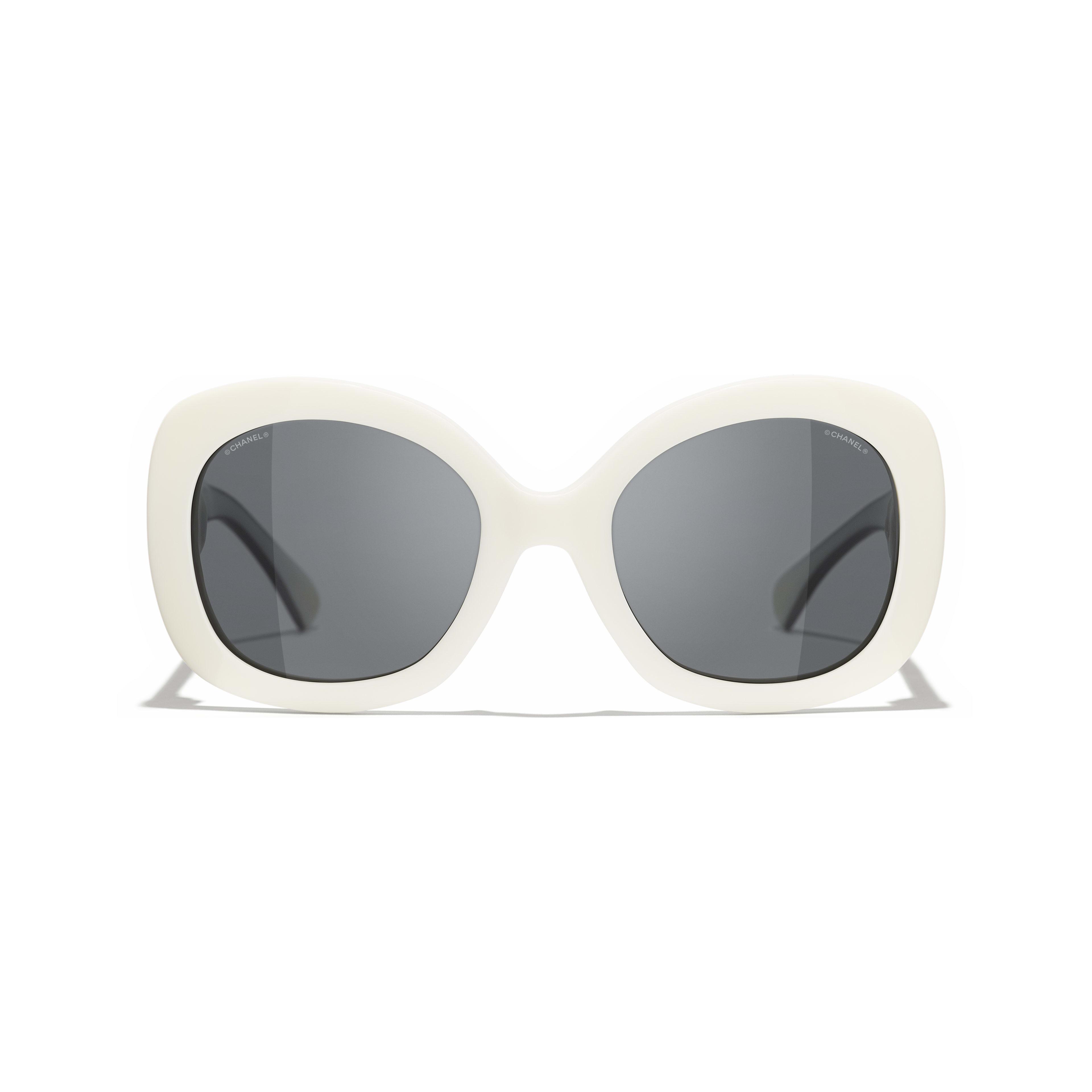Gafas de sol cuadradas - Blanco - Acetato - CHANEL - Vista alternativa - ver la versión tamaño estándar