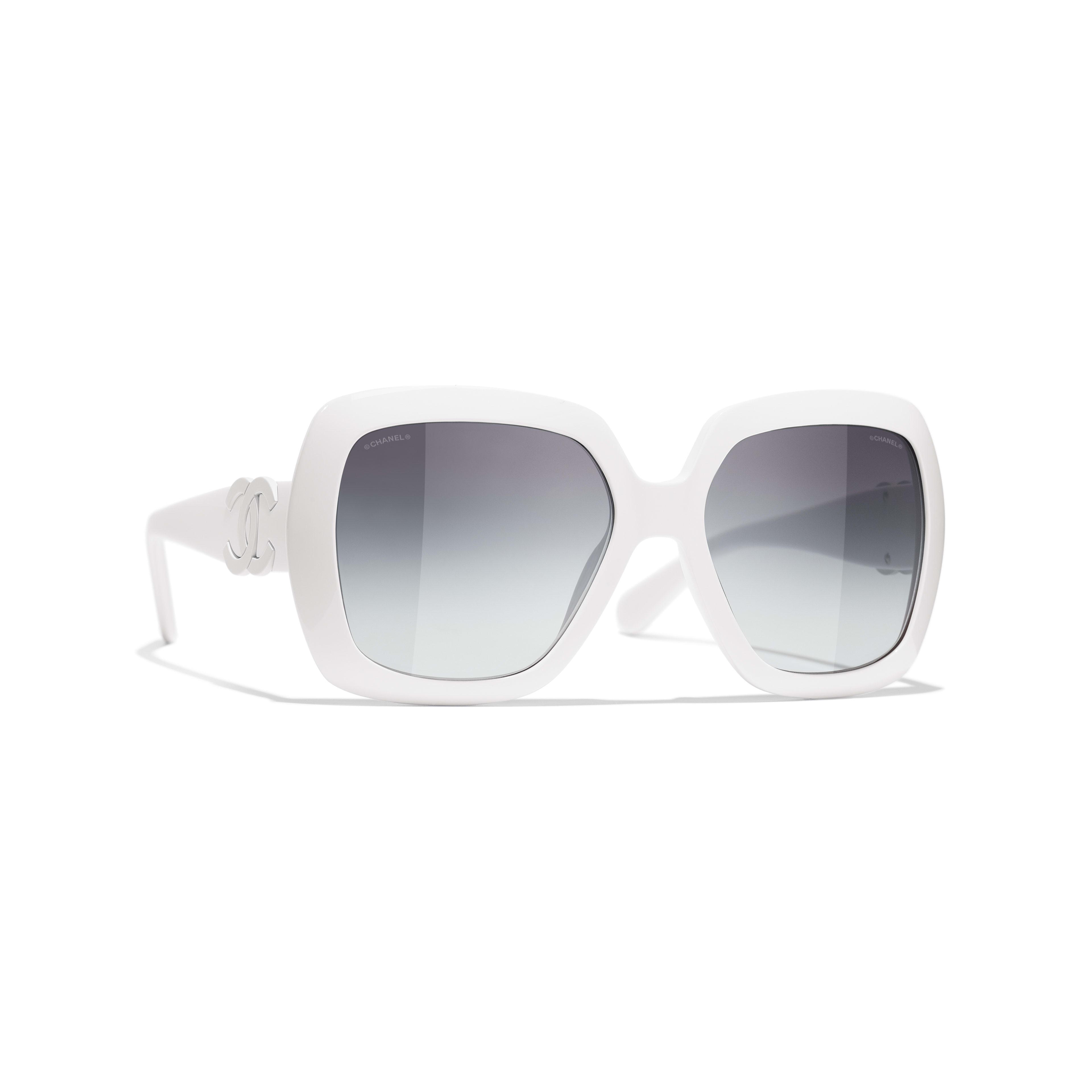 แว่นตากันแดดทรงเหลี่ยม - สีขาว - อะซิเตท - CHANEL - มุมมองปัจจุบัน - ดูเวอร์ชันขนาดมาตรฐาน