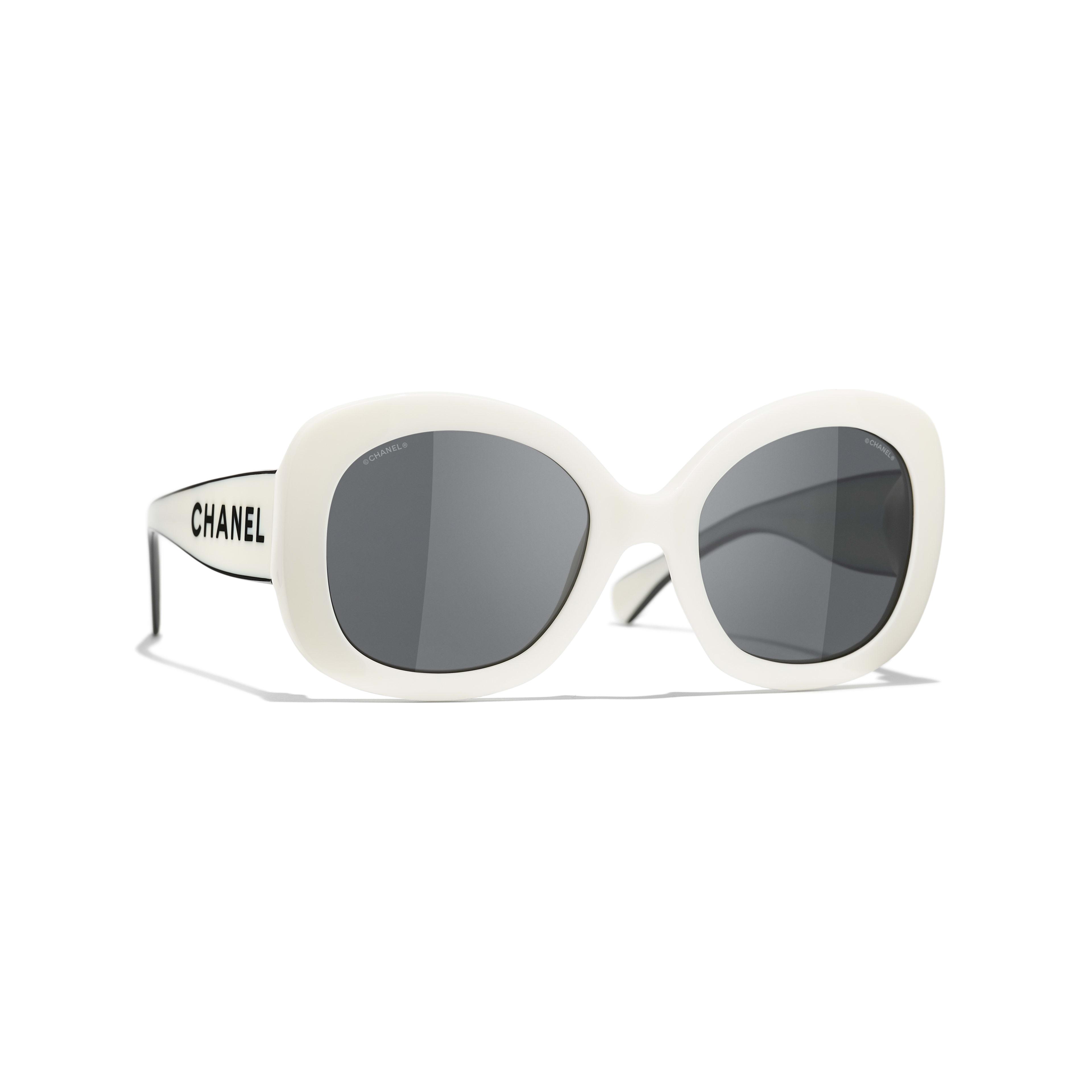 Gafas de sol cuadradas - Blanco - Acetato - CHANEL - Vista por defecto - ver la versión tamaño estándar
