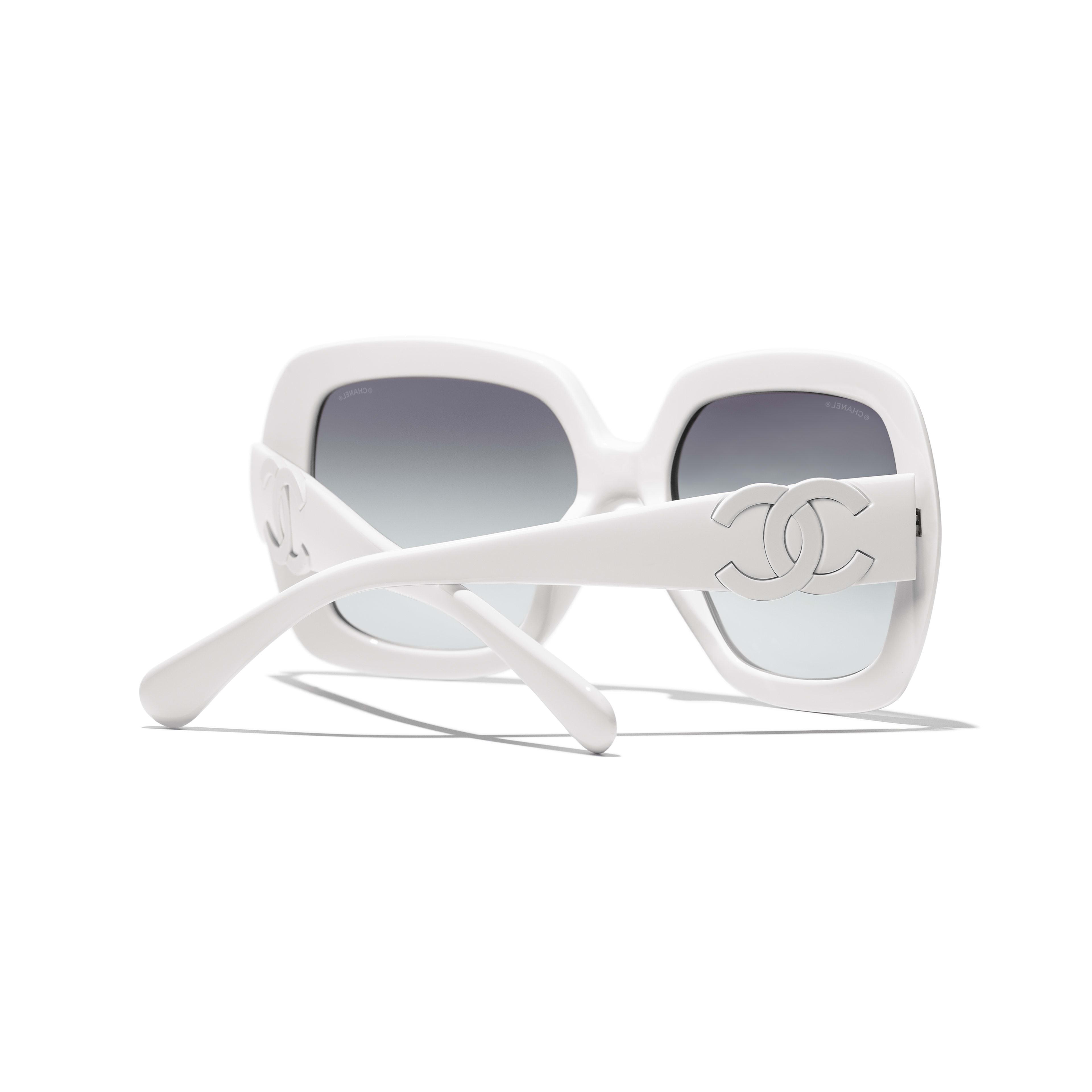 แว่นตากันแดดทรงเหลี่ยม - สีขาว - อะซิเตท - CHANEL - มุมมองพิเศษ - ดูเวอร์ชันขนาดมาตรฐาน