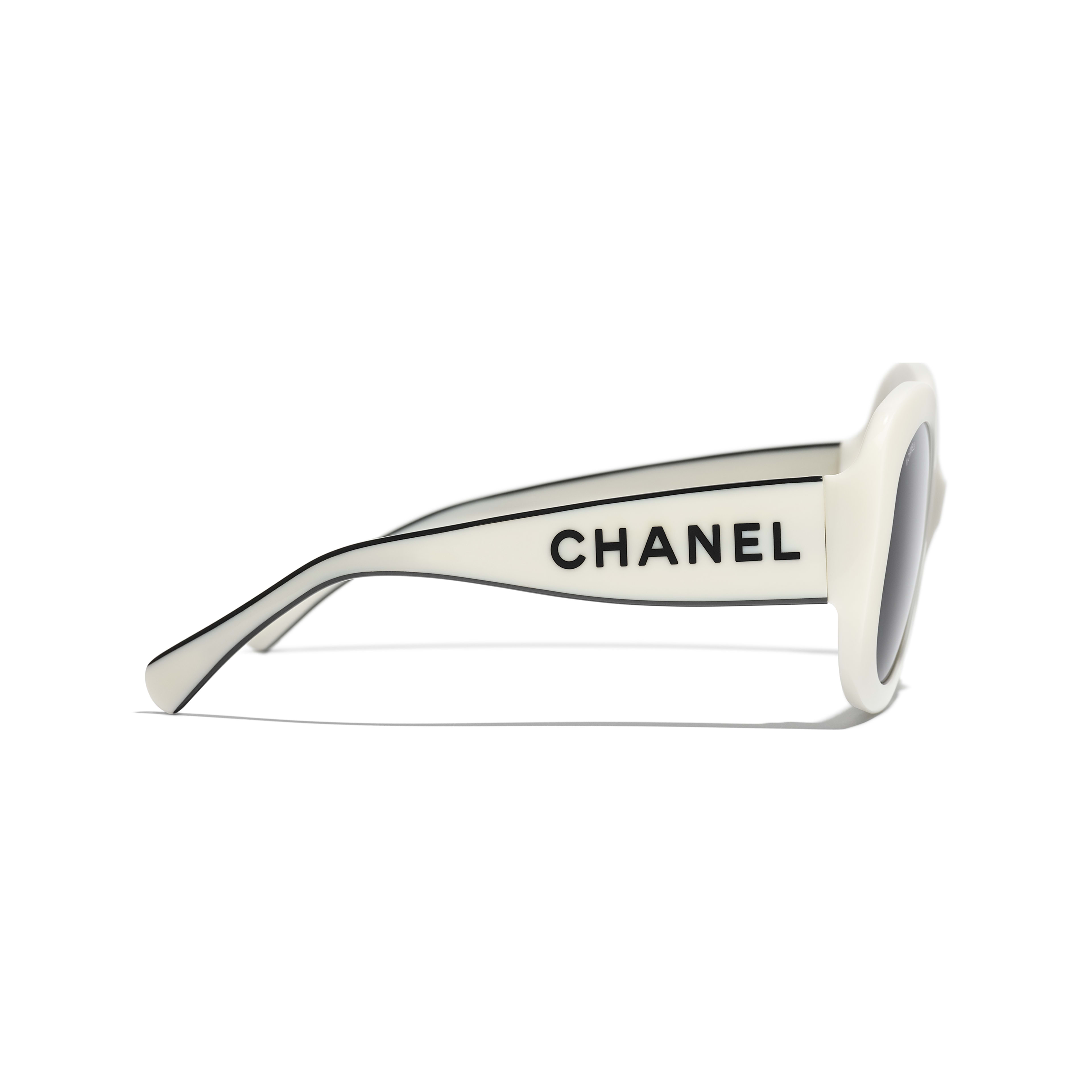 Square Sunglasses - White - Acetate - CHANEL - Other view - see standard sized version