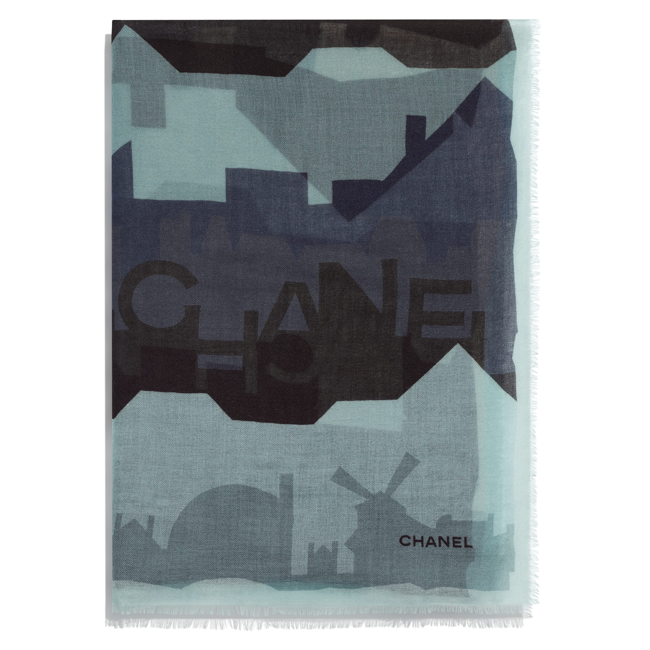 Stole - Beige, Grey & Black - Cashmere - CHANEL - Alternative view - see standard sized version