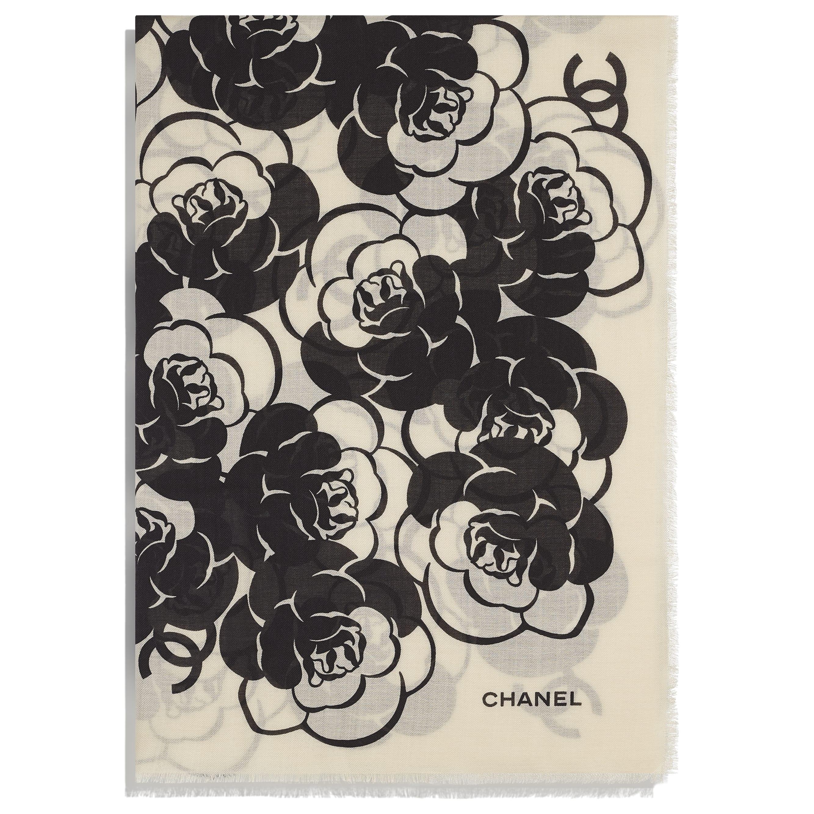 Stole - Black & Beige - Cashmere, Wool & Silk - CHANEL - Alternative view - see standard sized version