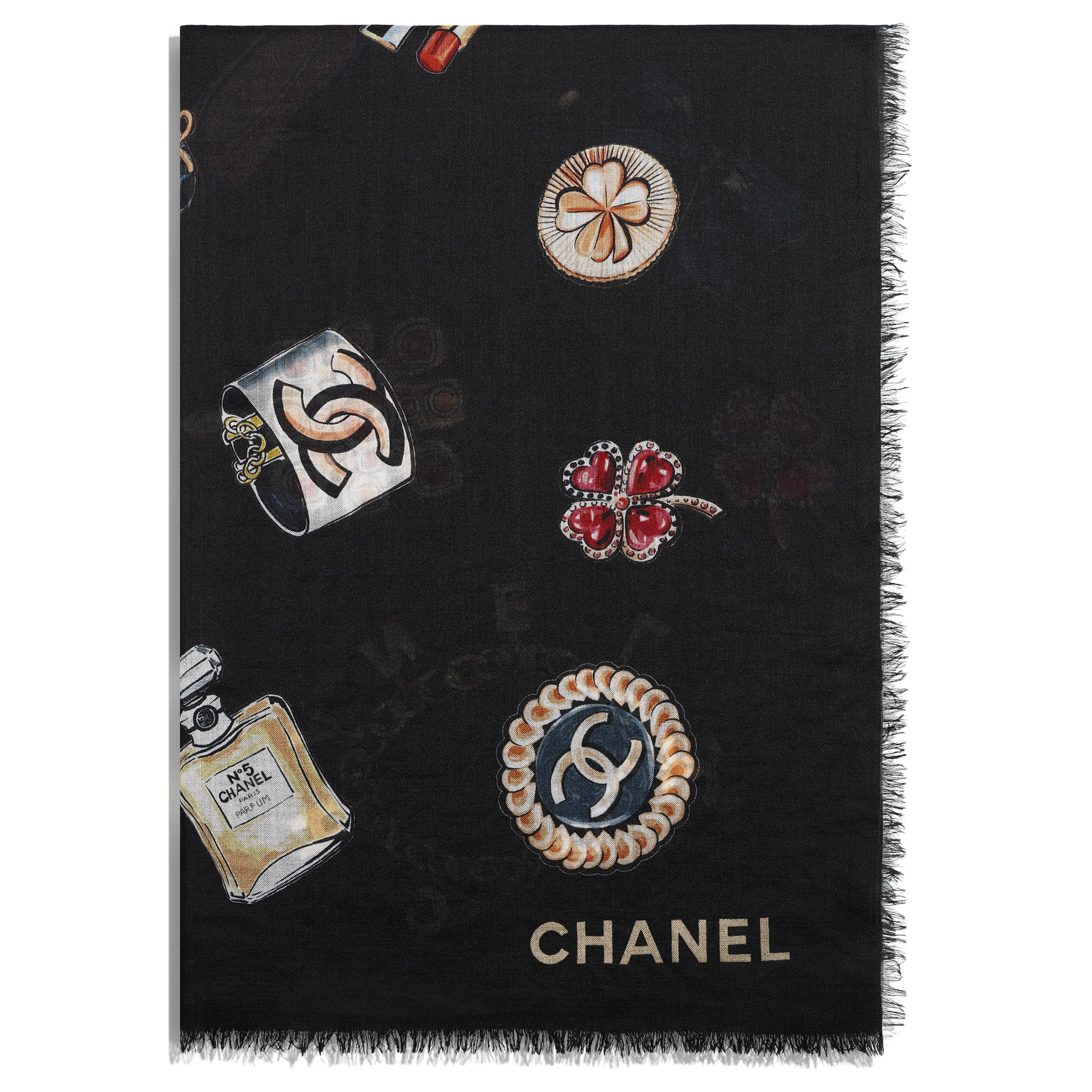 Stole - Black - Cashmere - CHANEL - Alternative view - see standard sized version