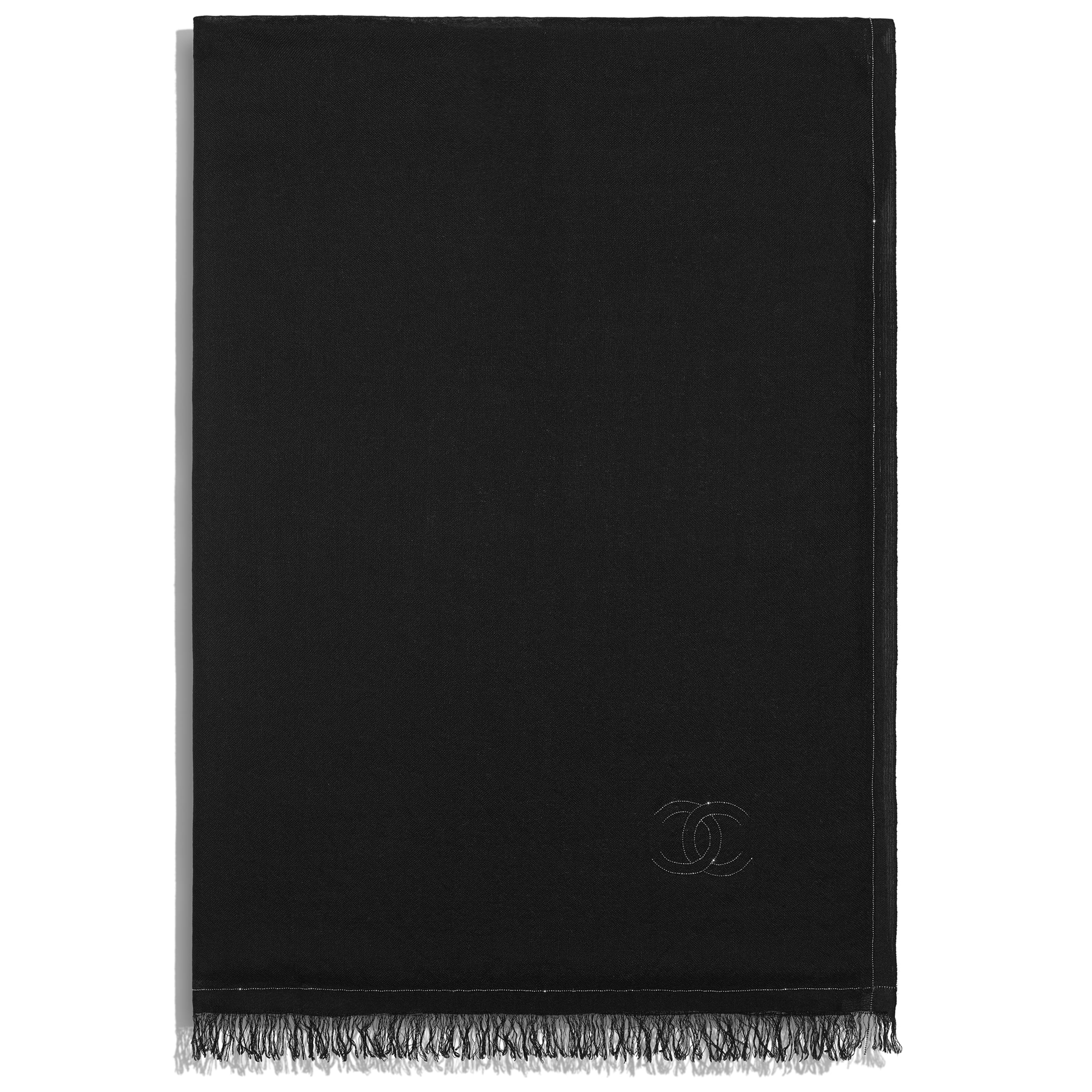 Stole - Black - Cashmere, Silk & Metal - CHANEL - Alternative view - see standard sized version