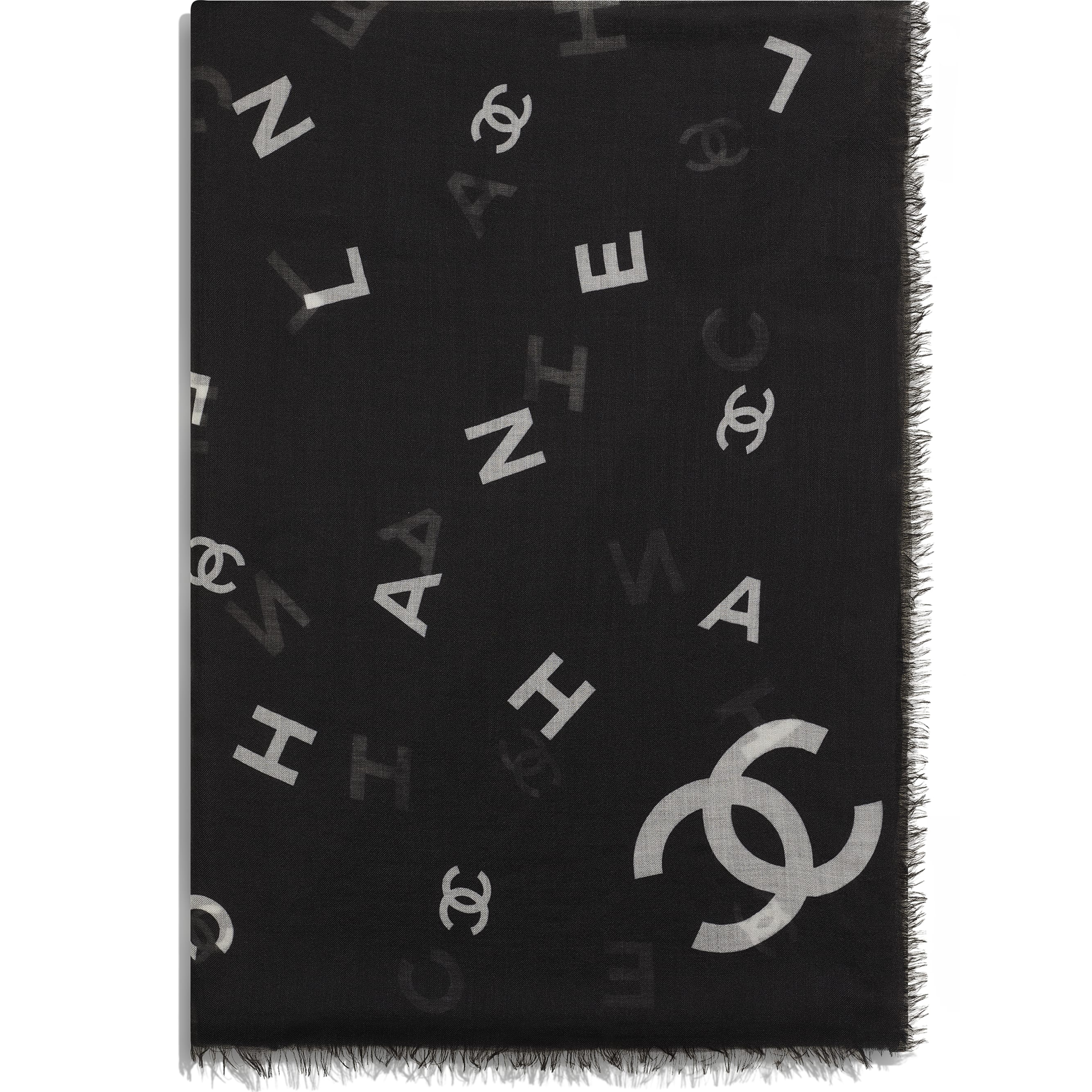 Stole - Black & White - Cashmere - CHANEL - Alternative view - see standard sized version