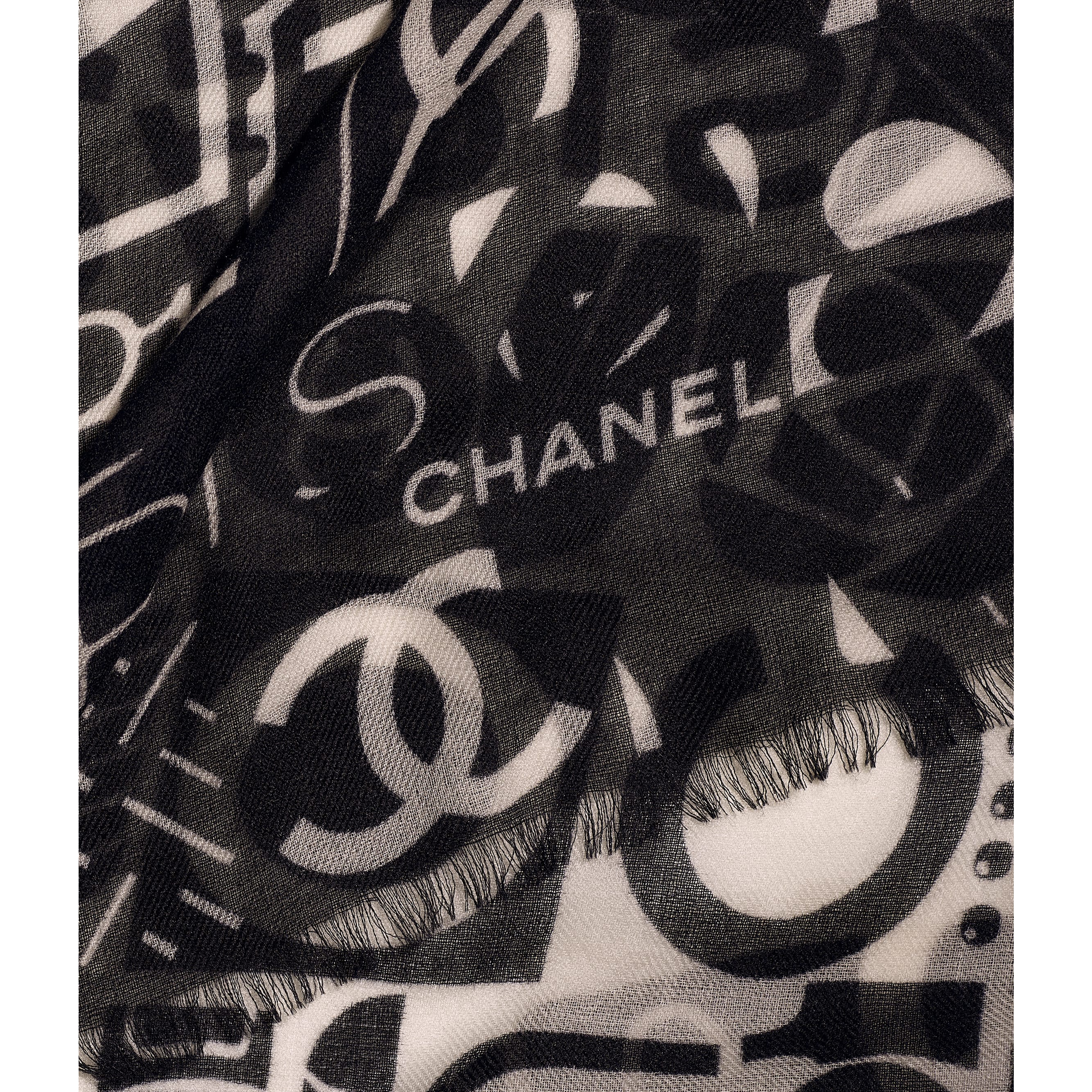 Stole - Black & White - Cashmere - CHANEL - Default view - see standard sized version