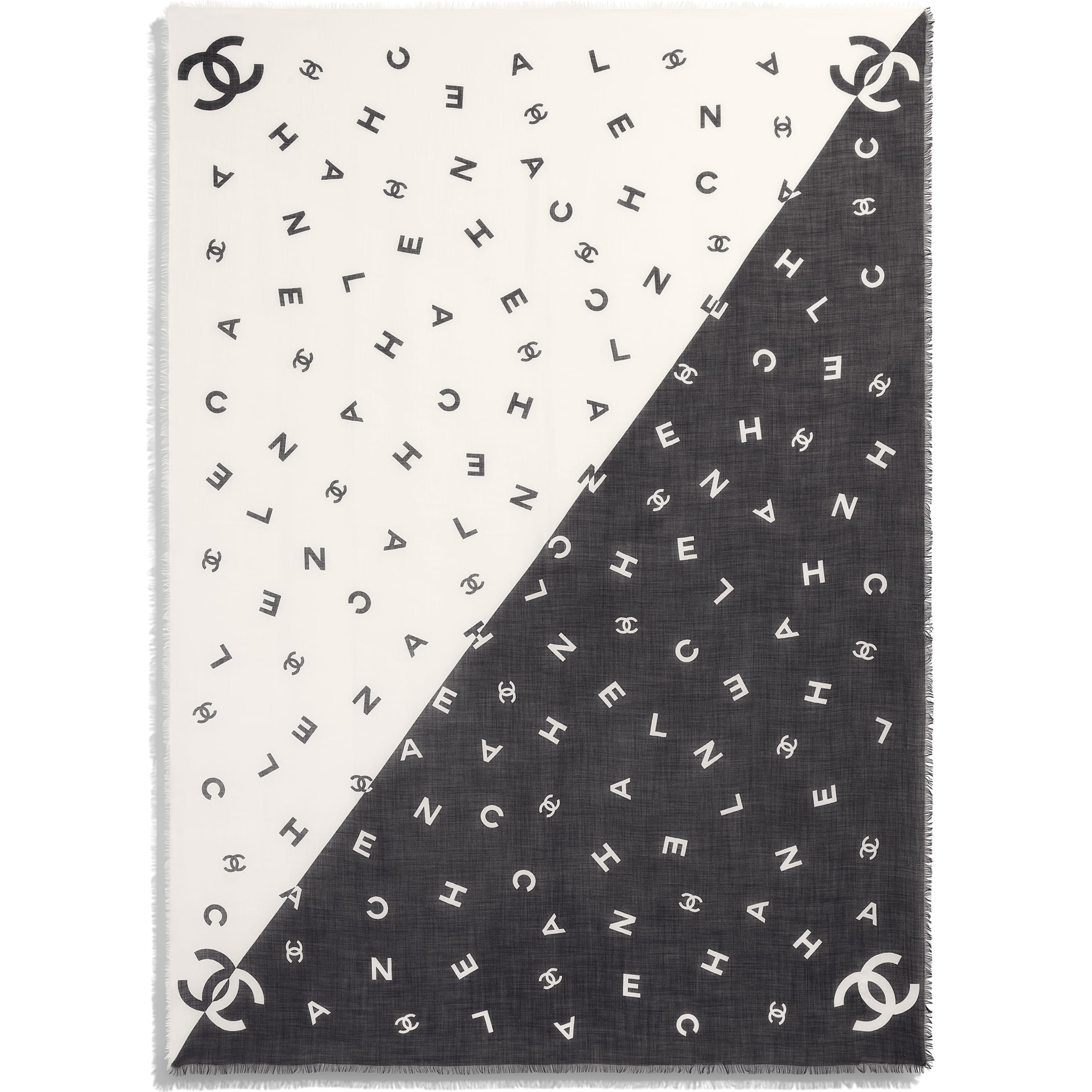 Stole - Black & White - Cashmere - CHANEL - Other view - see standard sized version