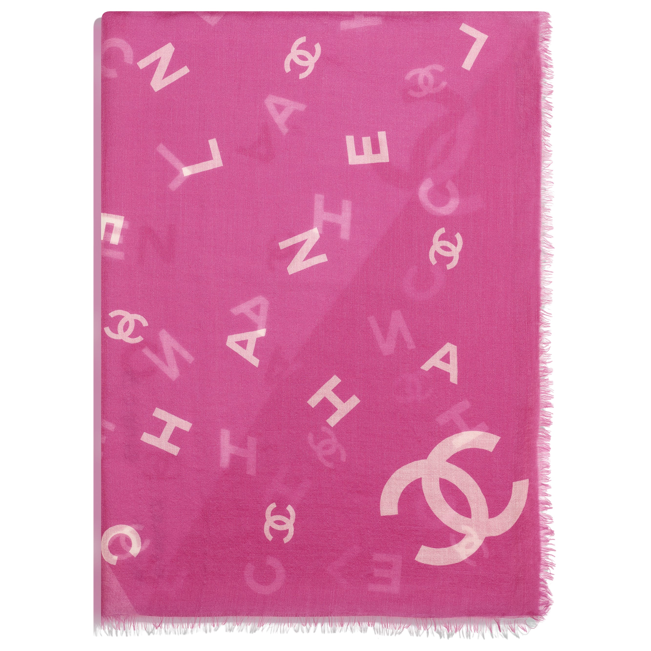 Stole - Fuchsia & White - Cashmere - CHANEL - Alternative view - see standard sized version