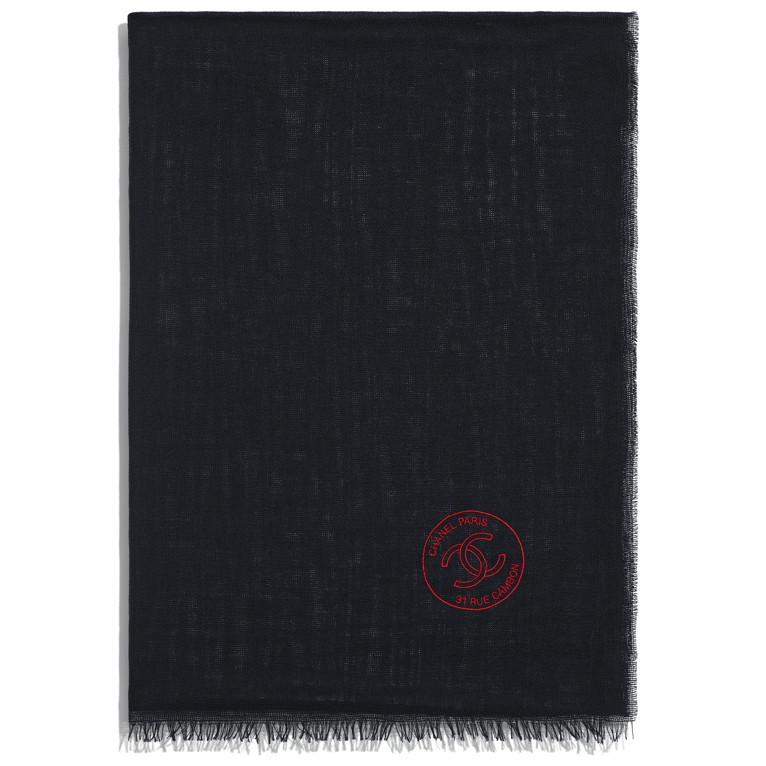 Stole - Navy Blue - Cashmere & Silk - CHANEL - Alternative view - see standard sized version