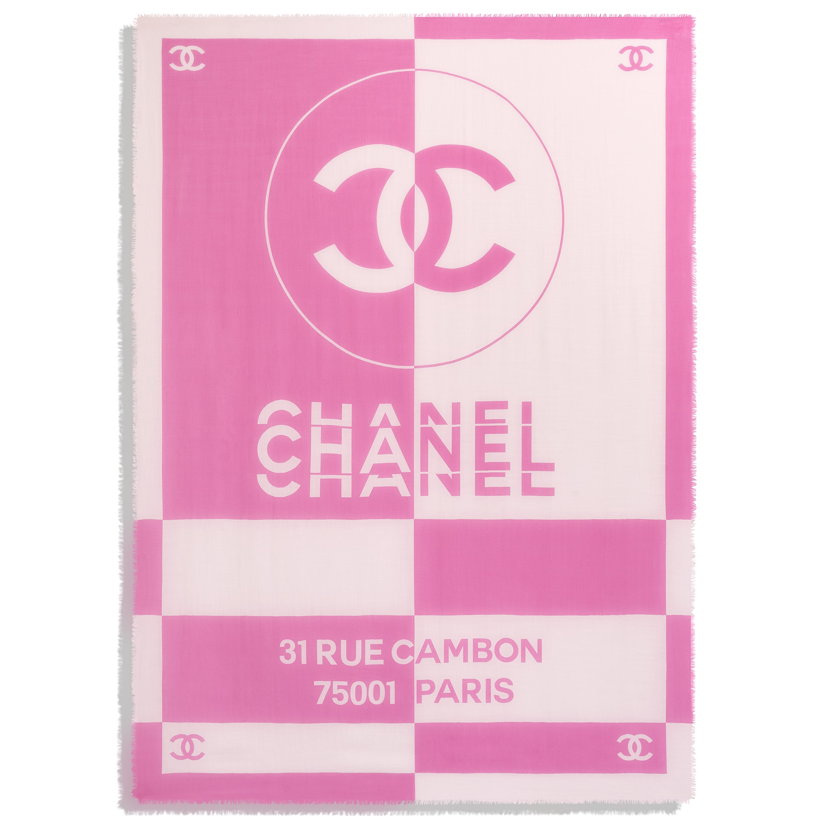 Stole - Pink & White - Cashmere - CHANEL - Other view - see standard sized version